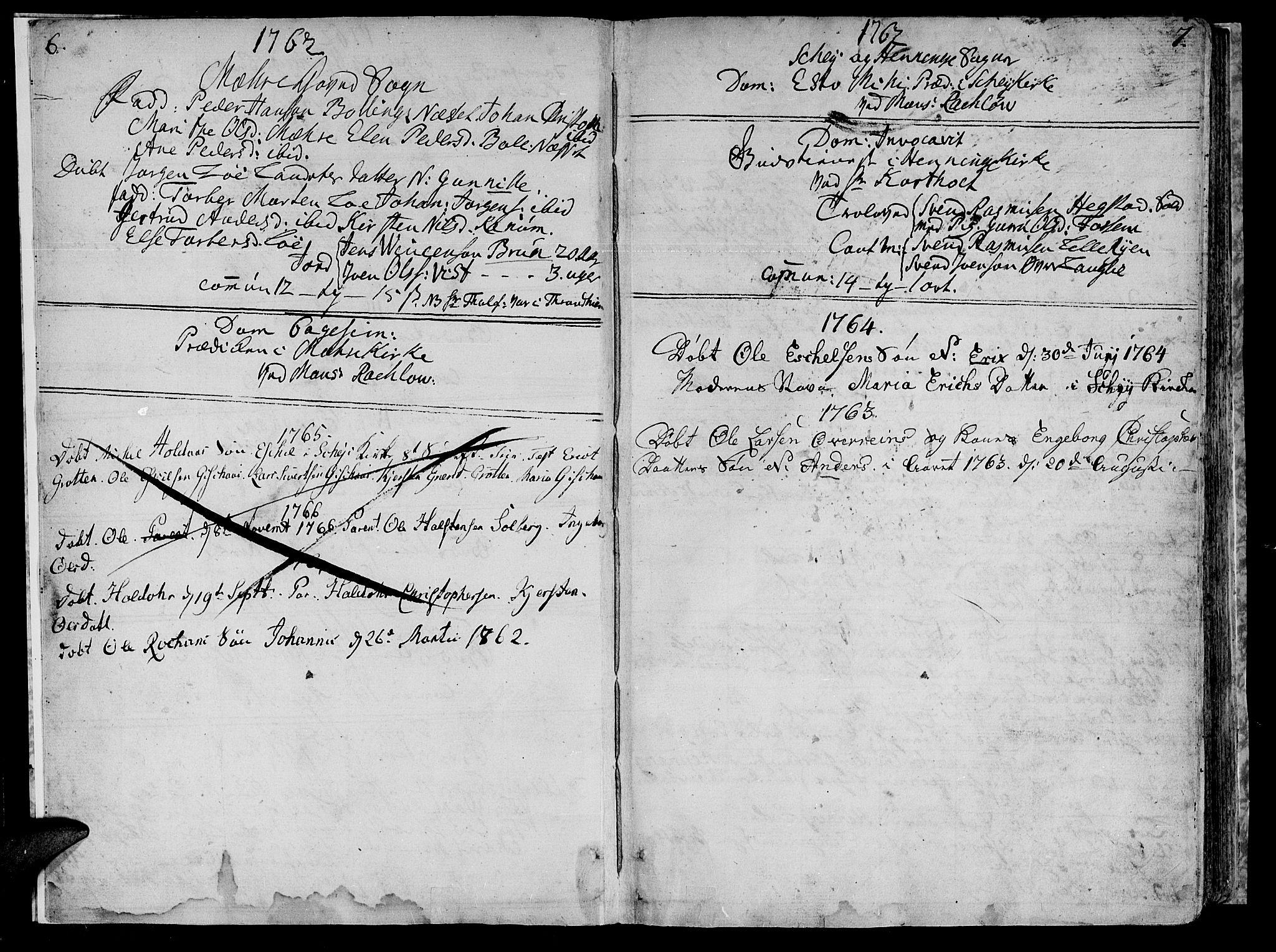 SAT, Ministerialprotokoller, klokkerbøker og fødselsregistre - Nord-Trøndelag, 735/L0331: Ministerialbok nr. 735A02, 1762-1794, s. 6-7