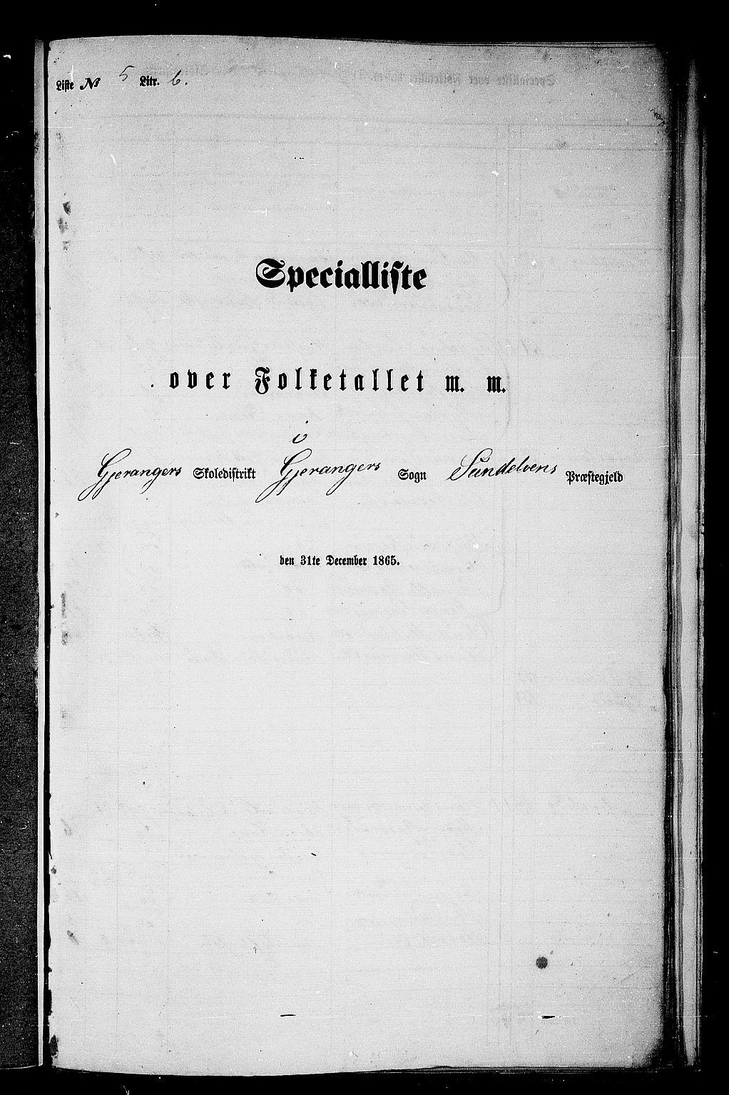 RA, Folketelling 1865 for 1523P Sunnylven prestegjeld, 1865, s. 70