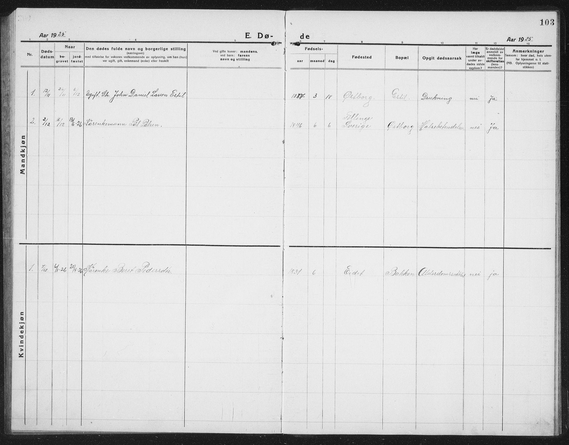 SAT, Ministerialprotokoller, klokkerbøker og fødselsregistre - Nord-Trøndelag, 757/L0507: Klokkerbok nr. 757C02, 1923-1939, s. 103