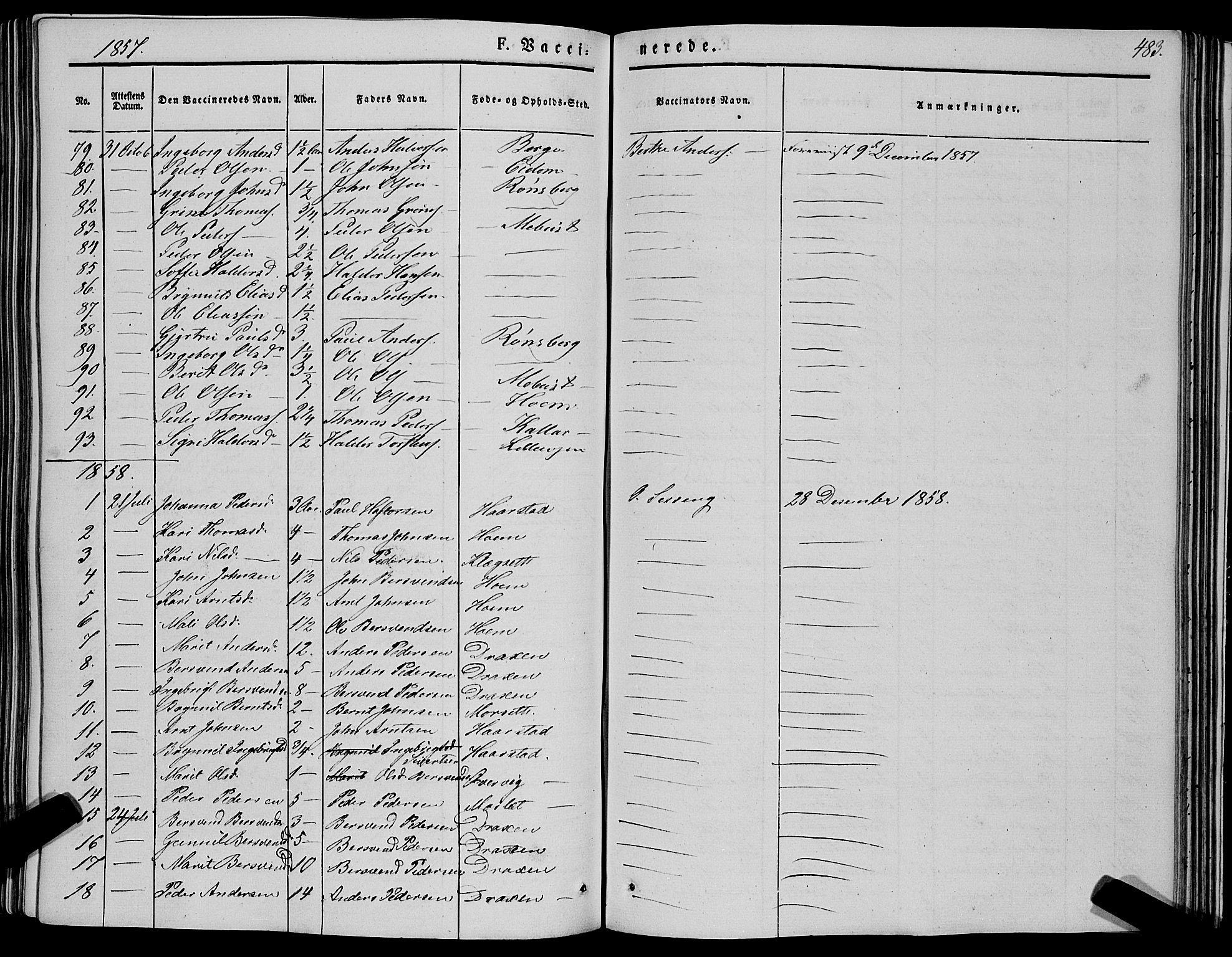 SAT, Ministerialprotokoller, klokkerbøker og fødselsregistre - Sør-Trøndelag, 695/L1145: Ministerialbok nr. 695A06 /1, 1843-1859, s. 483