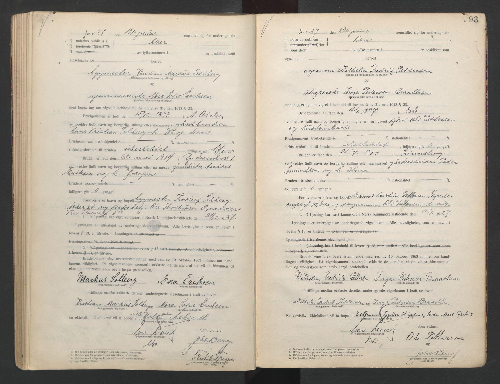 SAO, Aker sorenskriveri, L/Lc/Lcb/L0003: Vigselprotokoll, 1924-1927, s. 93