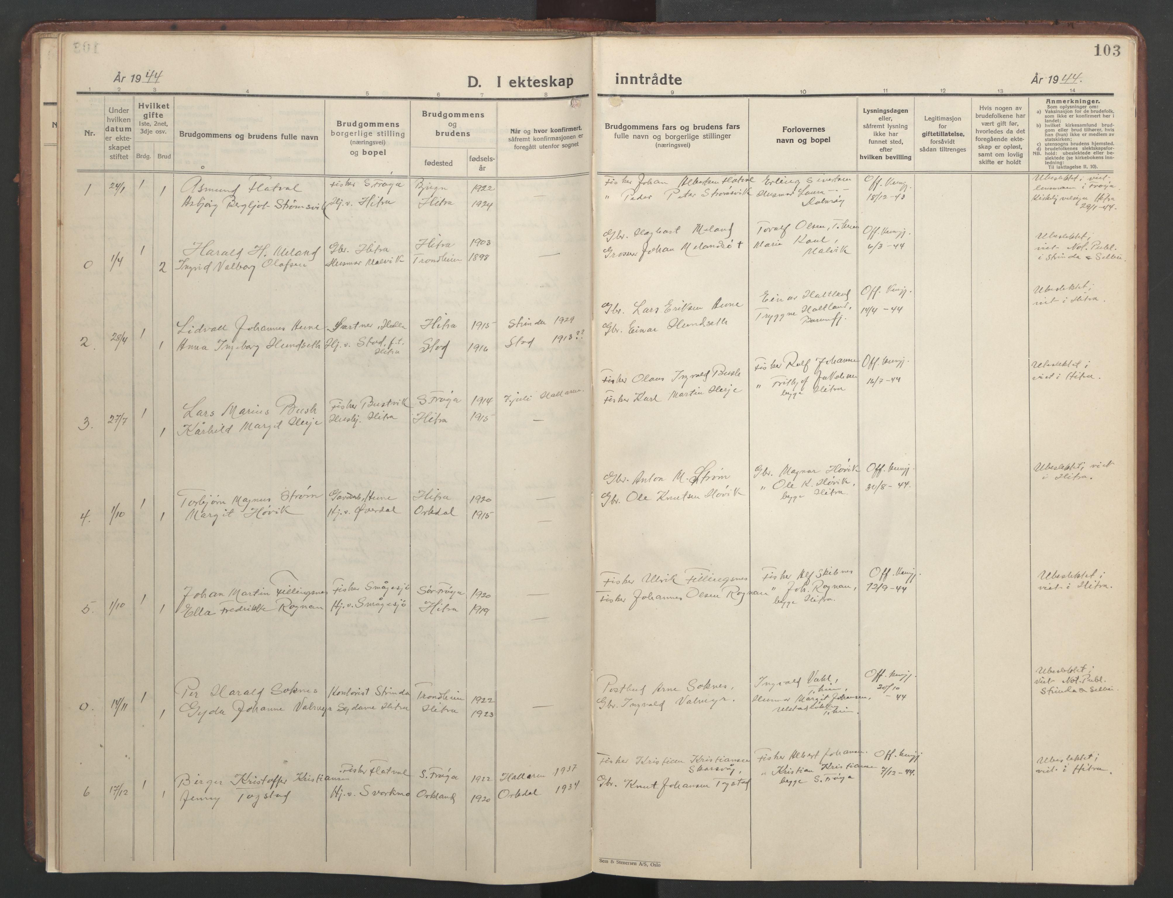 SAT, Ministerialprotokoller, klokkerbøker og fødselsregistre - Sør-Trøndelag, 634/L0544: Klokkerbok nr. 634C06, 1927-1948, s. 103
