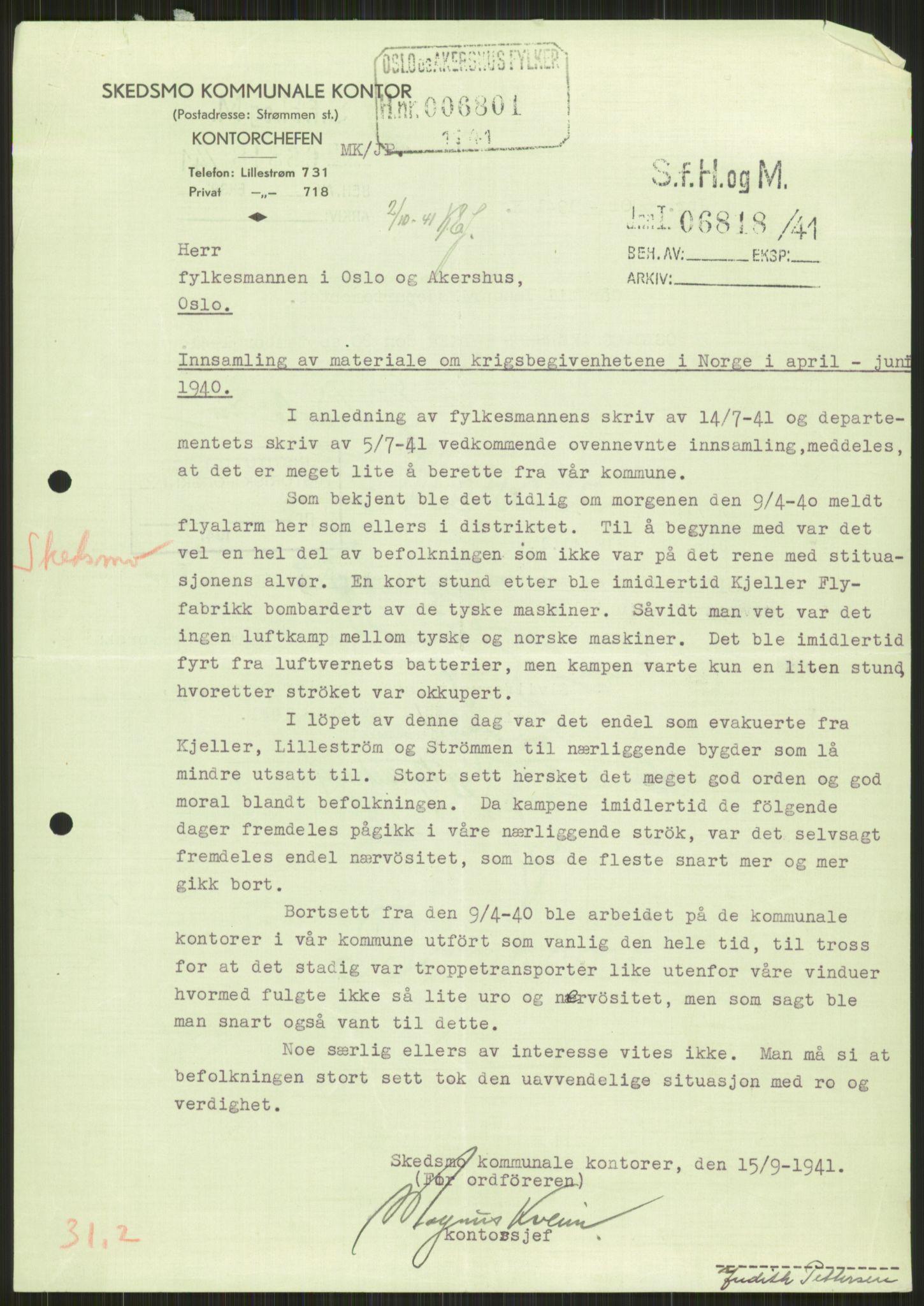 RA, Forsvaret, Forsvarets krigshistoriske avdeling, Y/Ya/L0013: II-C-11-31 - Fylkesmenn.  Rapporter om krigsbegivenhetene 1940., 1940, s. 827