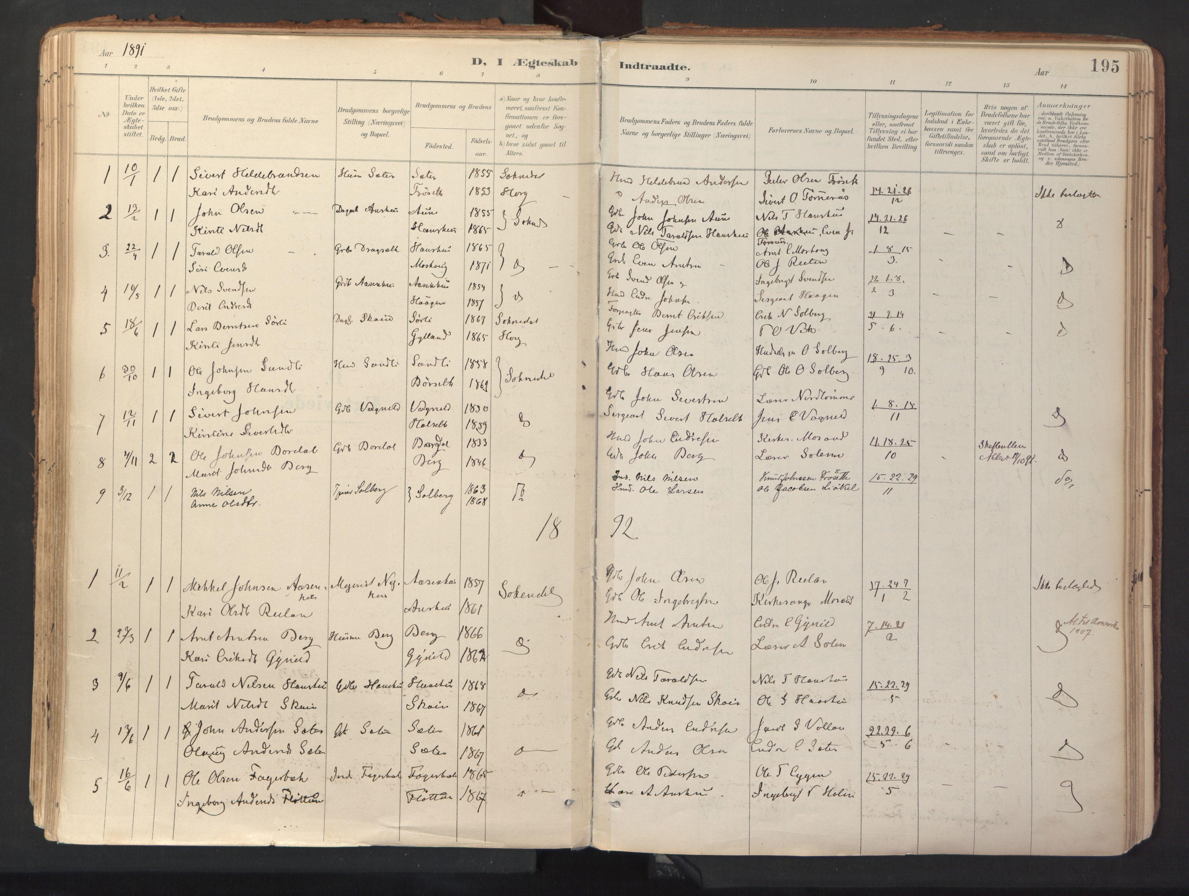 SAT, Ministerialprotokoller, klokkerbøker og fødselsregistre - Sør-Trøndelag, 689/L1041: Ministerialbok nr. 689A06, 1891-1923, s. 195