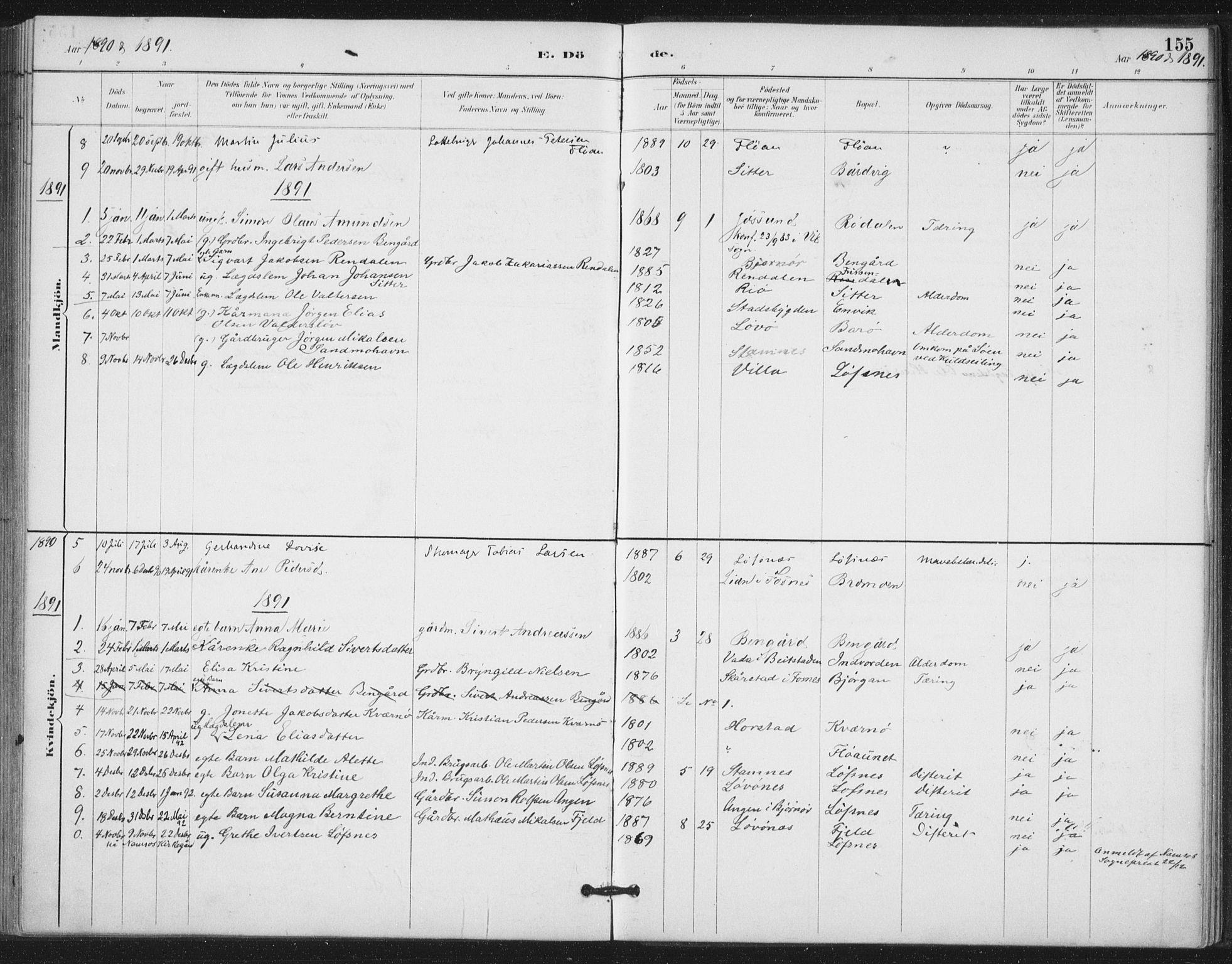 SAT, Ministerialprotokoller, klokkerbøker og fødselsregistre - Nord-Trøndelag, 772/L0603: Ministerialbok nr. 772A01, 1885-1912, s. 155