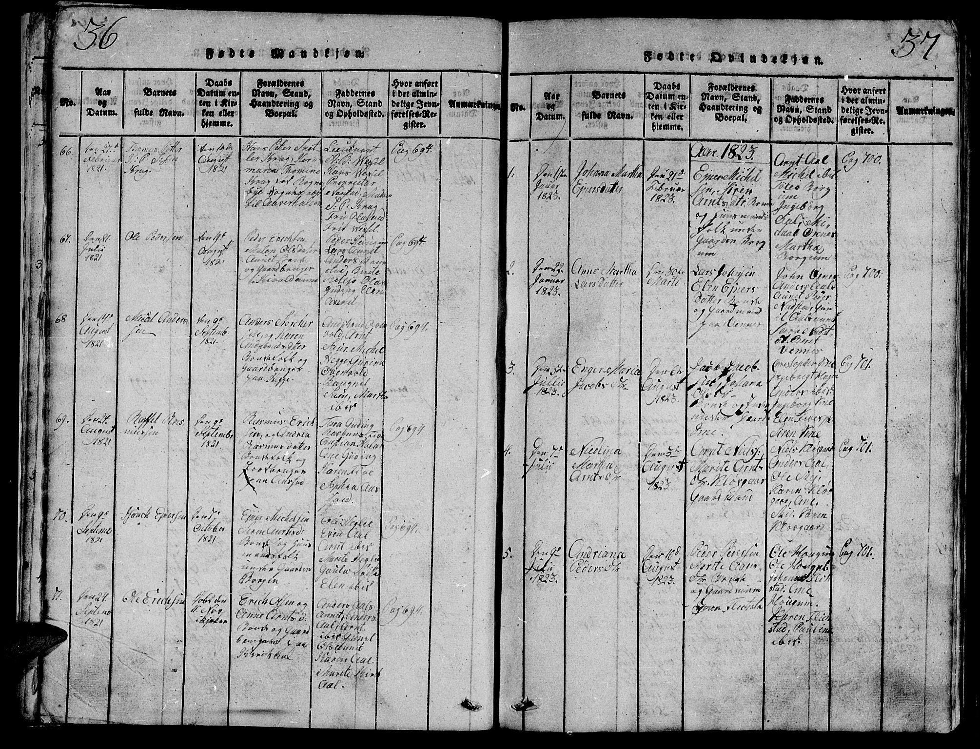 SAT, Ministerialprotokoller, klokkerbøker og fødselsregistre - Nord-Trøndelag, 747/L0459: Klokkerbok nr. 747C01, 1816-1842, s. 36-37