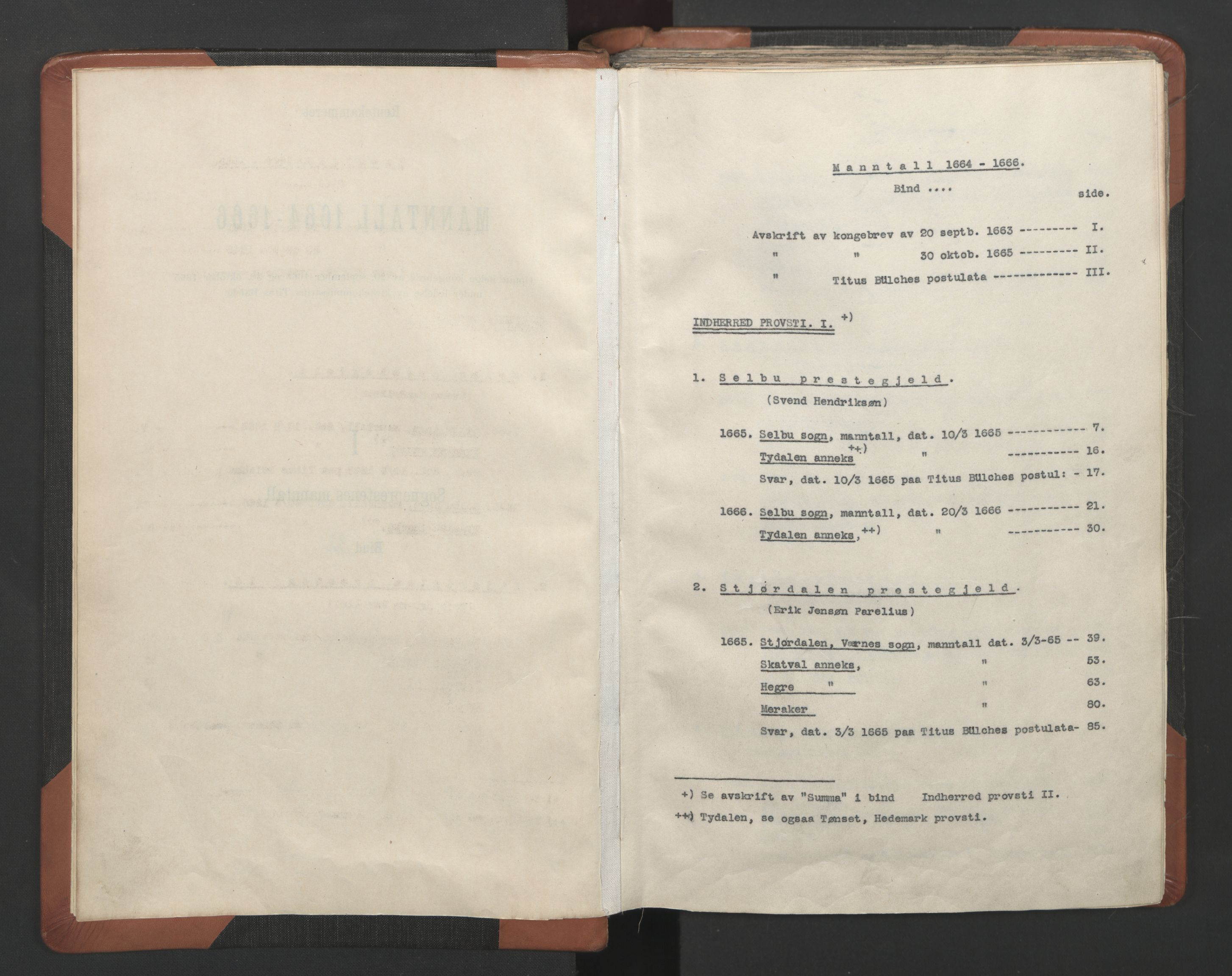 RA, Sogneprestenes manntall 1664-1666, nr. 32: Innherad prosti, 1664-1666