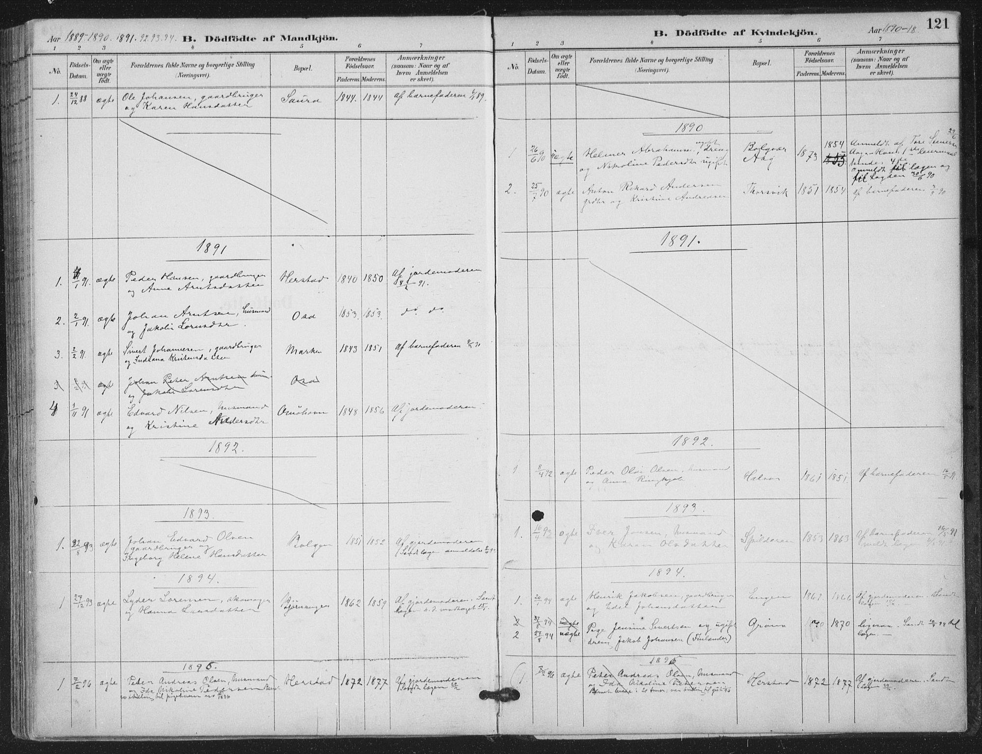 SAT, Ministerialprotokoller, klokkerbøker og fødselsregistre - Nordland, 843/L0628: Ministerialbok nr. 843A03, 1889-1907, s. 121