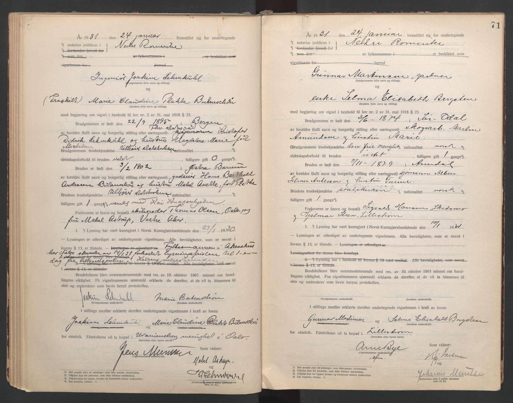 SAO, Nedre Romerike sorenskriveri, L/Lb/L0001: Vigselsbok - borgerlige vielser, 1920-1935, s. 71