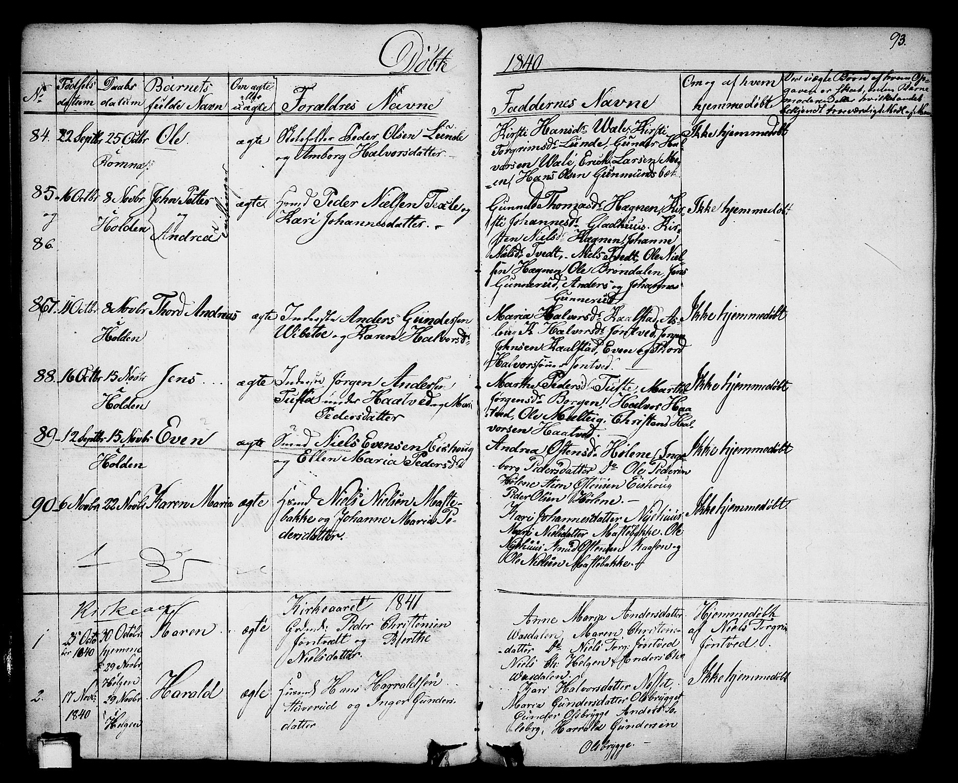 SAKO, Holla kirkebøker, F/Fa/L0004: Ministerialbok nr. 4, 1830-1848, s. 93