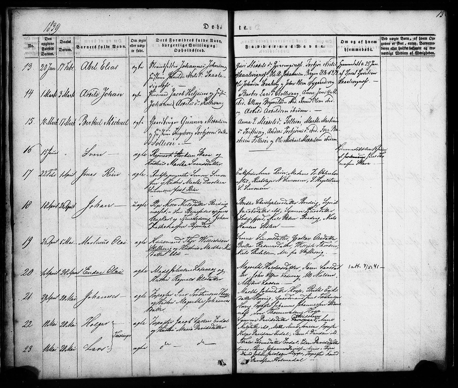 SAB, Askøy Sokneprestembete, H/Ha/Haa/Haaa/L0005: Ministerialbok nr. A 5, 1836-1852, s. 13