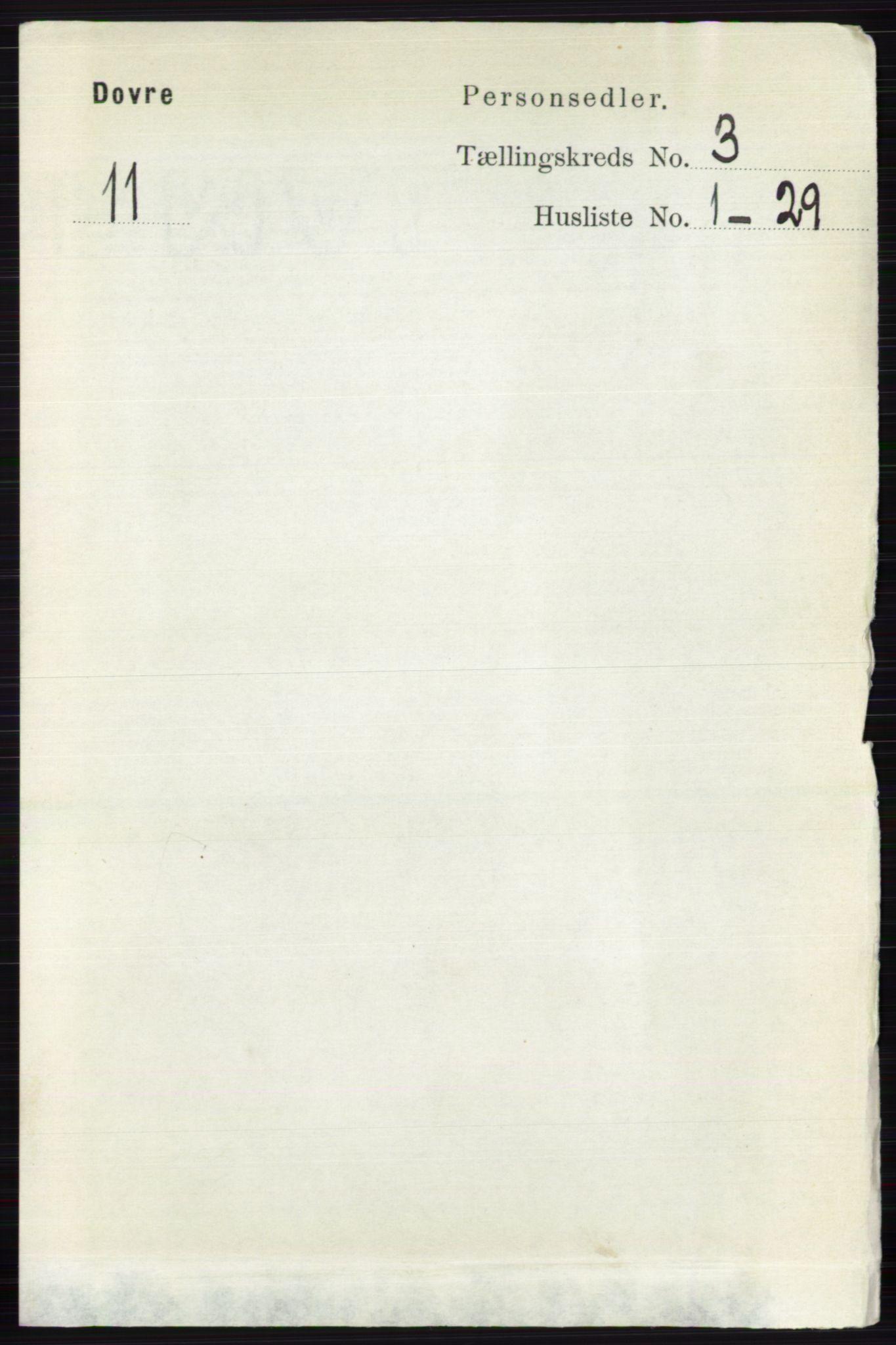 RA, Folketelling 1891 for 0511 Dovre herred, 1891, s. 1395