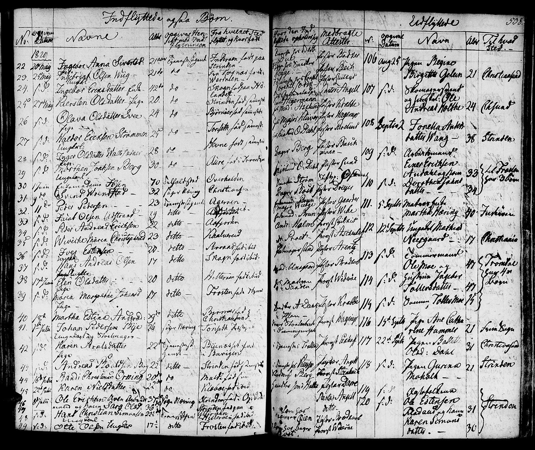 SAT, Ministerialprotokoller, klokkerbøker og fødselsregistre - Sør-Trøndelag, 601/L0045: Ministerialbok nr. 601A13, 1821-1831, s. 538