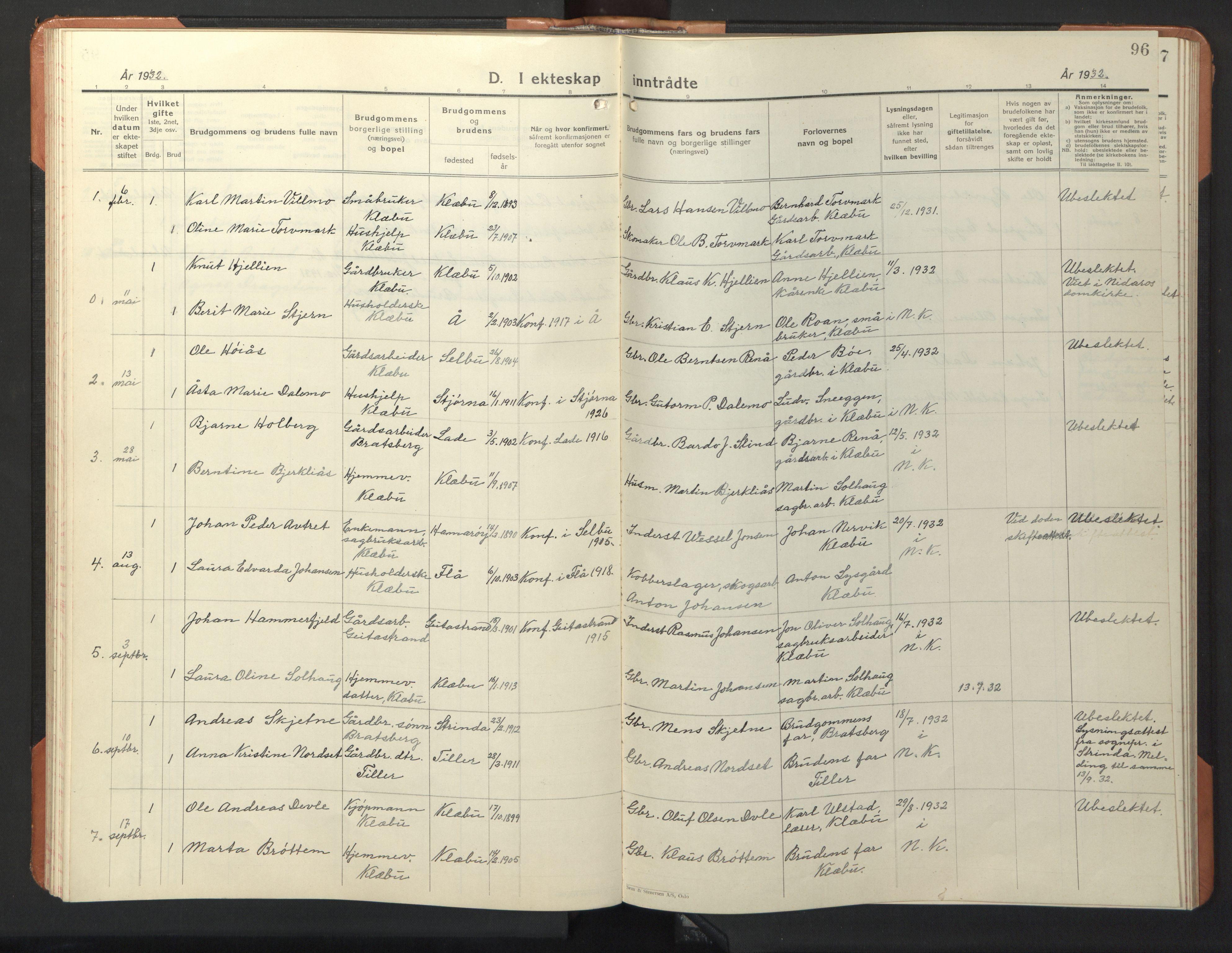 SAT, Ministerialprotokoller, klokkerbøker og fødselsregistre - Sør-Trøndelag, 618/L0454: Klokkerbok nr. 618C05, 1926-1946, s. 96