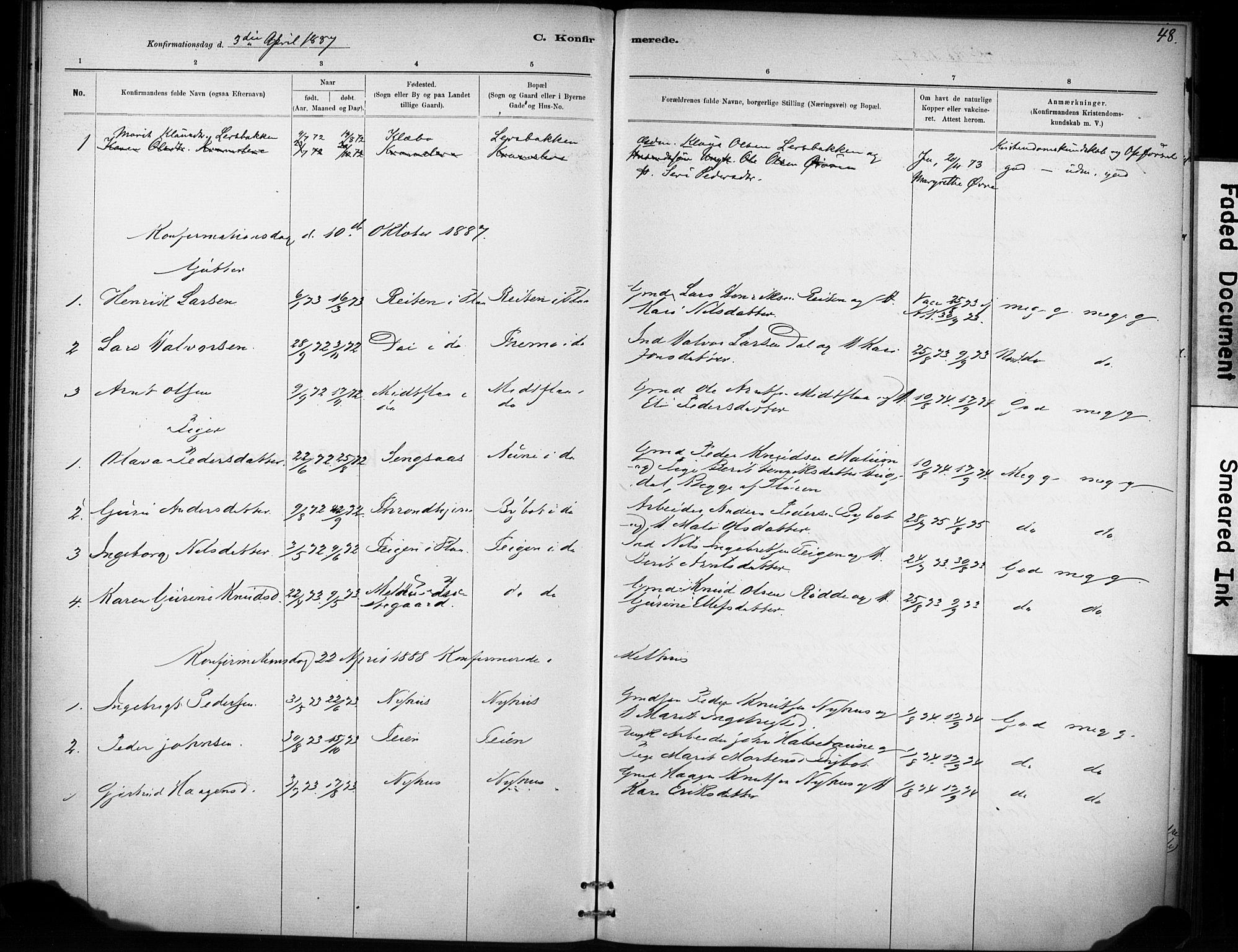 SAT, Ministerialprotokoller, klokkerbøker og fødselsregistre - Sør-Trøndelag, 693/L1119: Ministerialbok nr. 693A01, 1887-1905, s. 48