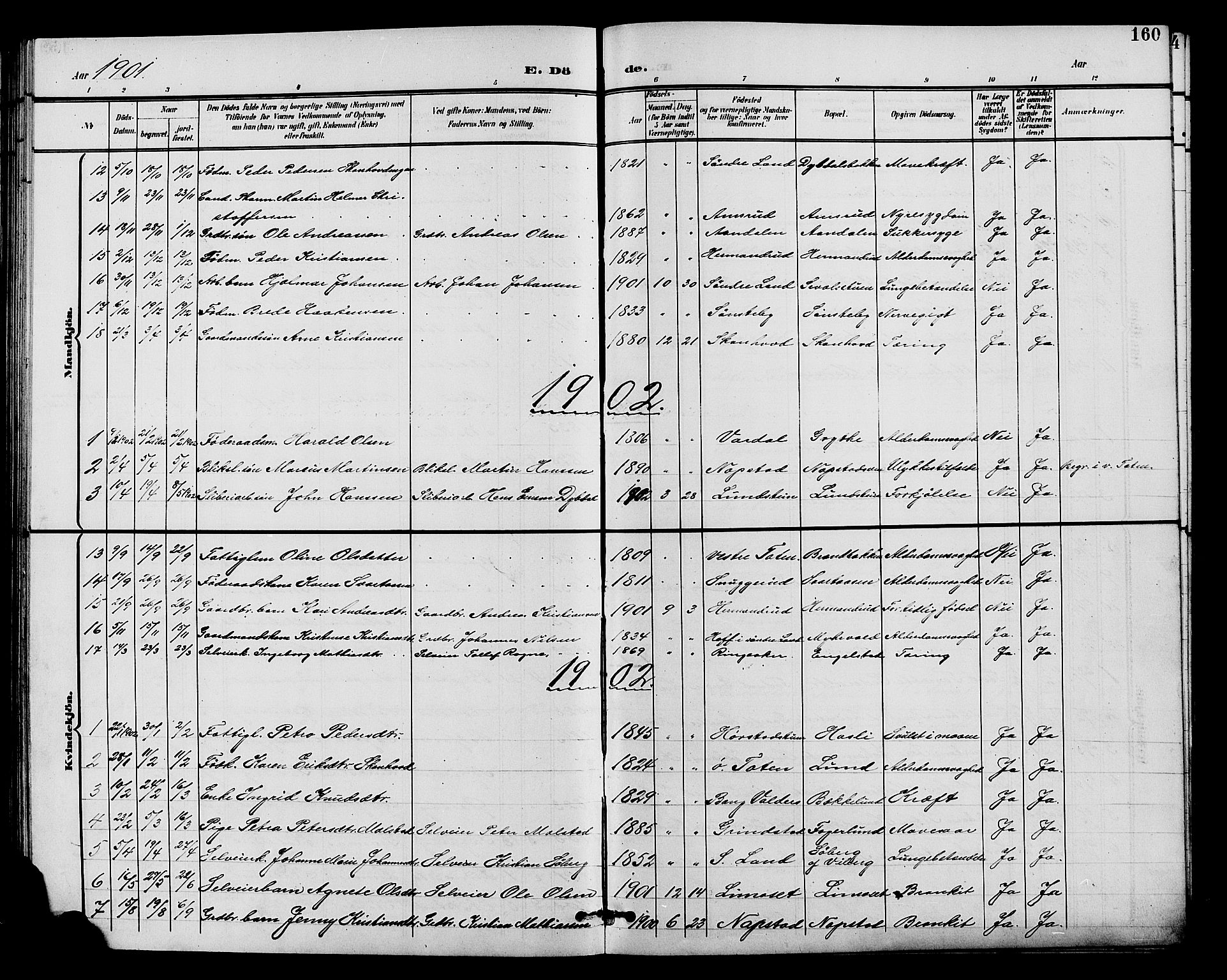 SAH, Vardal prestekontor, H/Ha/Hab/L0011: Klokkerbok nr. 11, 1899-1913, s. 160