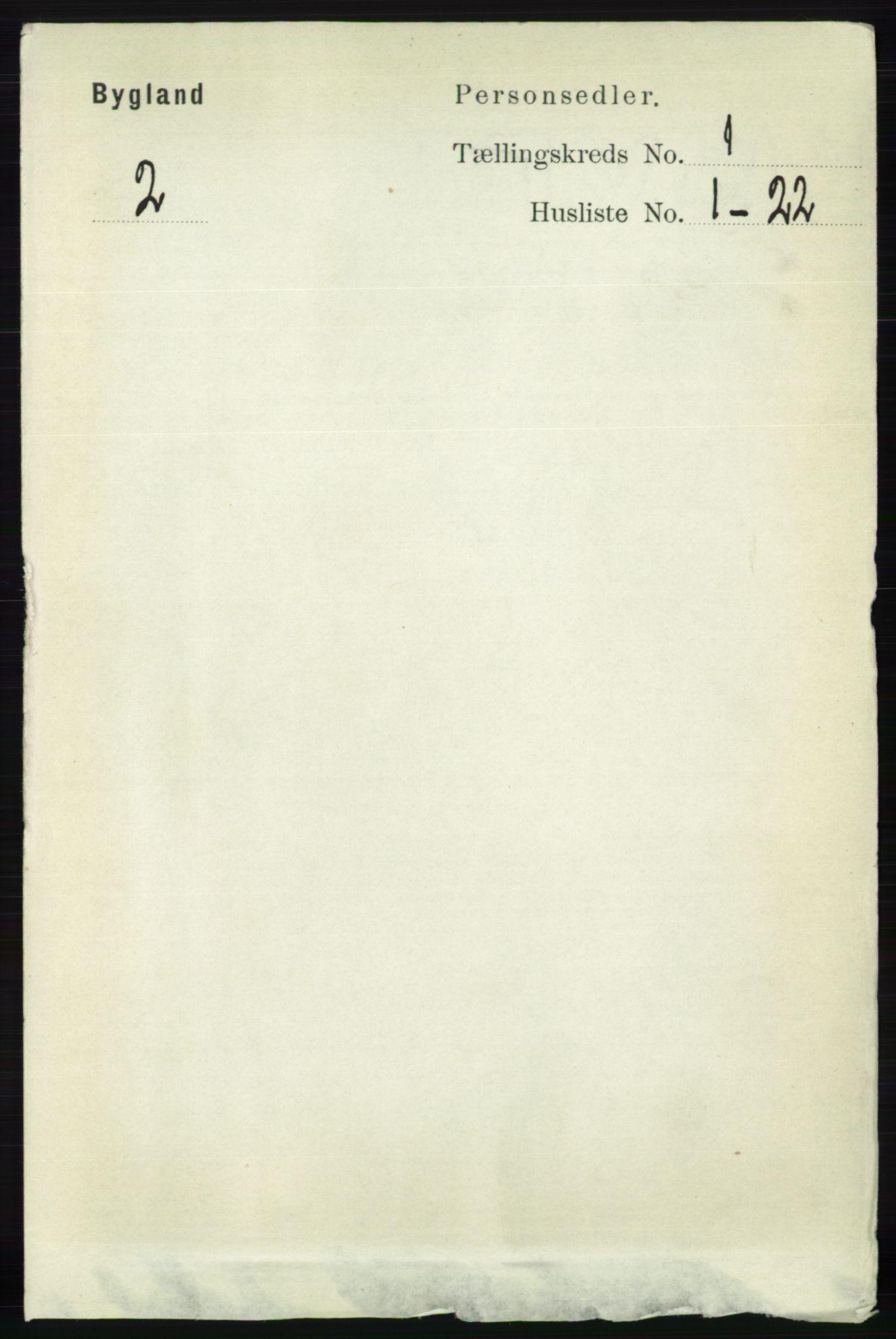 RA, Folketelling 1891 for 0938 Bygland herred, 1891, s. 52