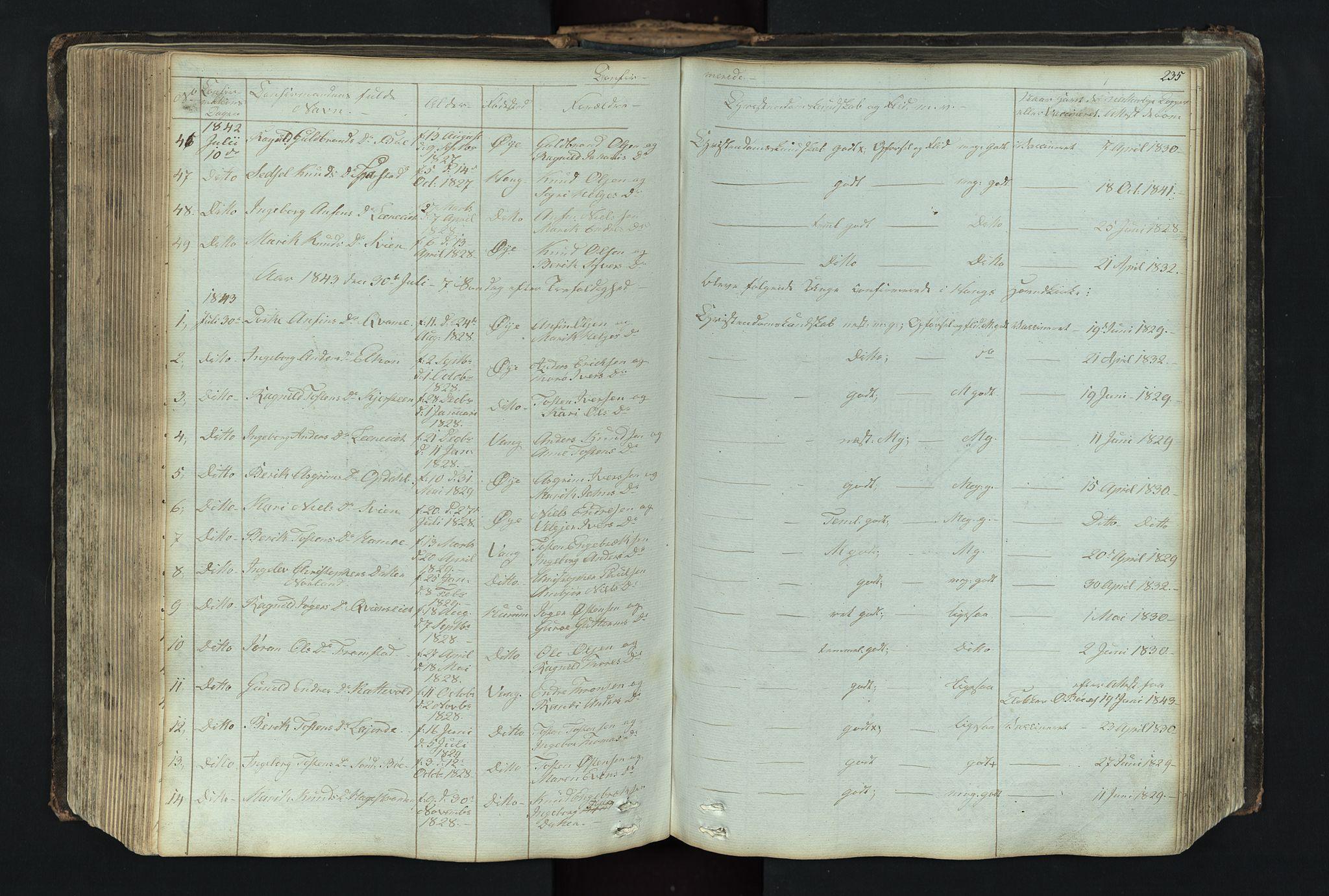 SAH, Vang prestekontor, Valdres, Klokkerbok nr. 4, 1835-1892, s. 235