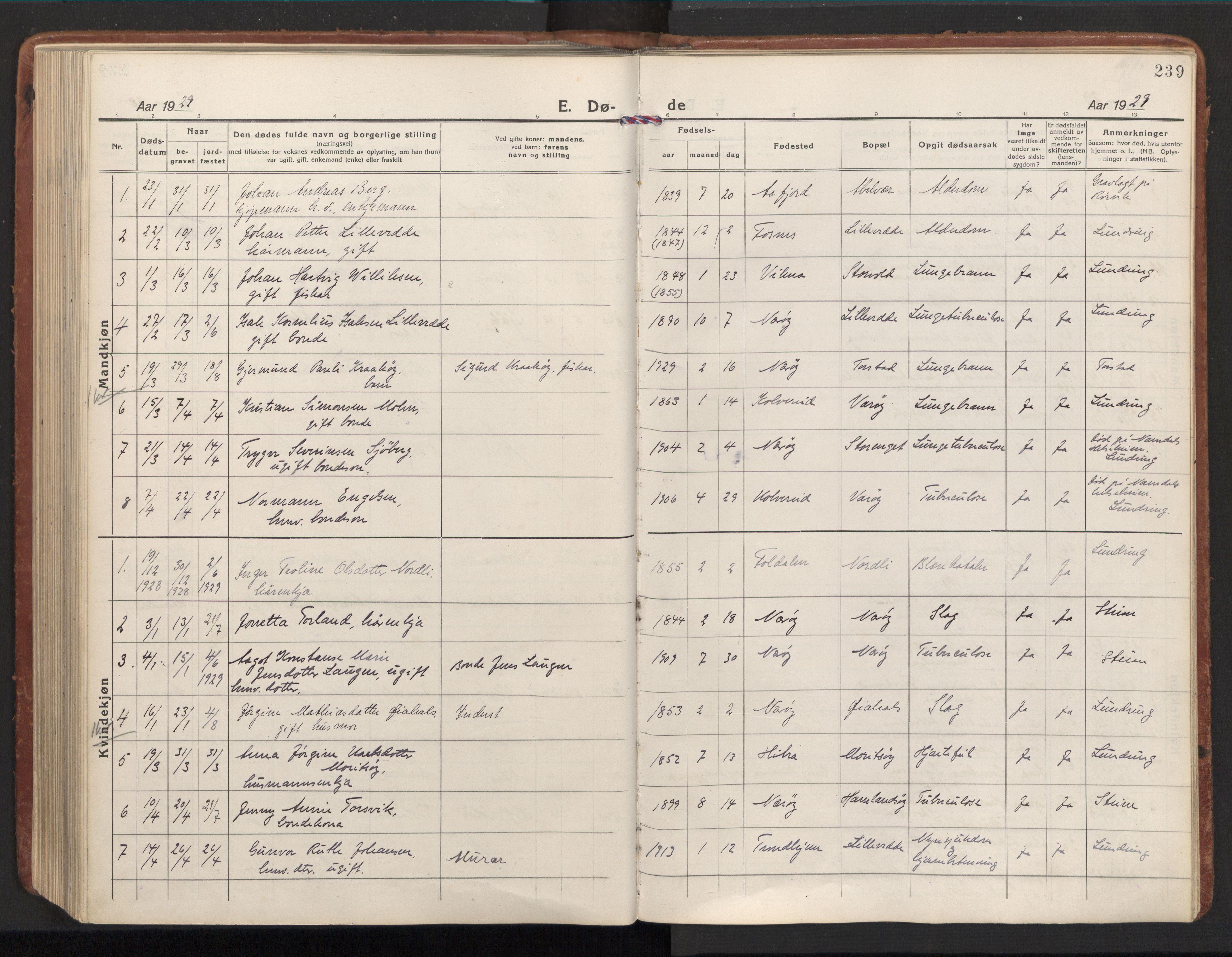 SAT, Ministerialprotokoller, klokkerbøker og fødselsregistre - Nord-Trøndelag, 784/L0678: Ministerialbok nr. 784A13, 1921-1938, s. 239