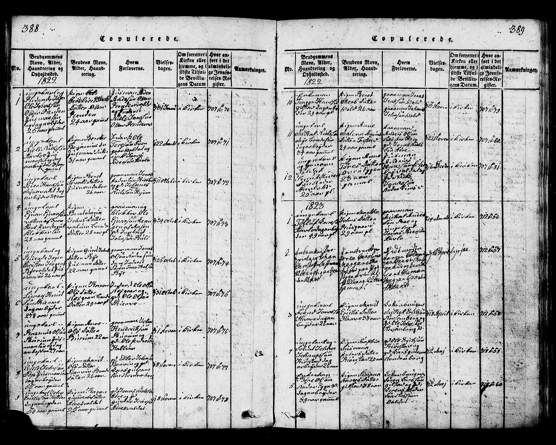 SAT, Ministerialprotokoller, klokkerbøker og fødselsregistre - Nord-Trøndelag, 717/L0169: Klokkerbok nr. 717C01, 1816-1834, s. 388-389