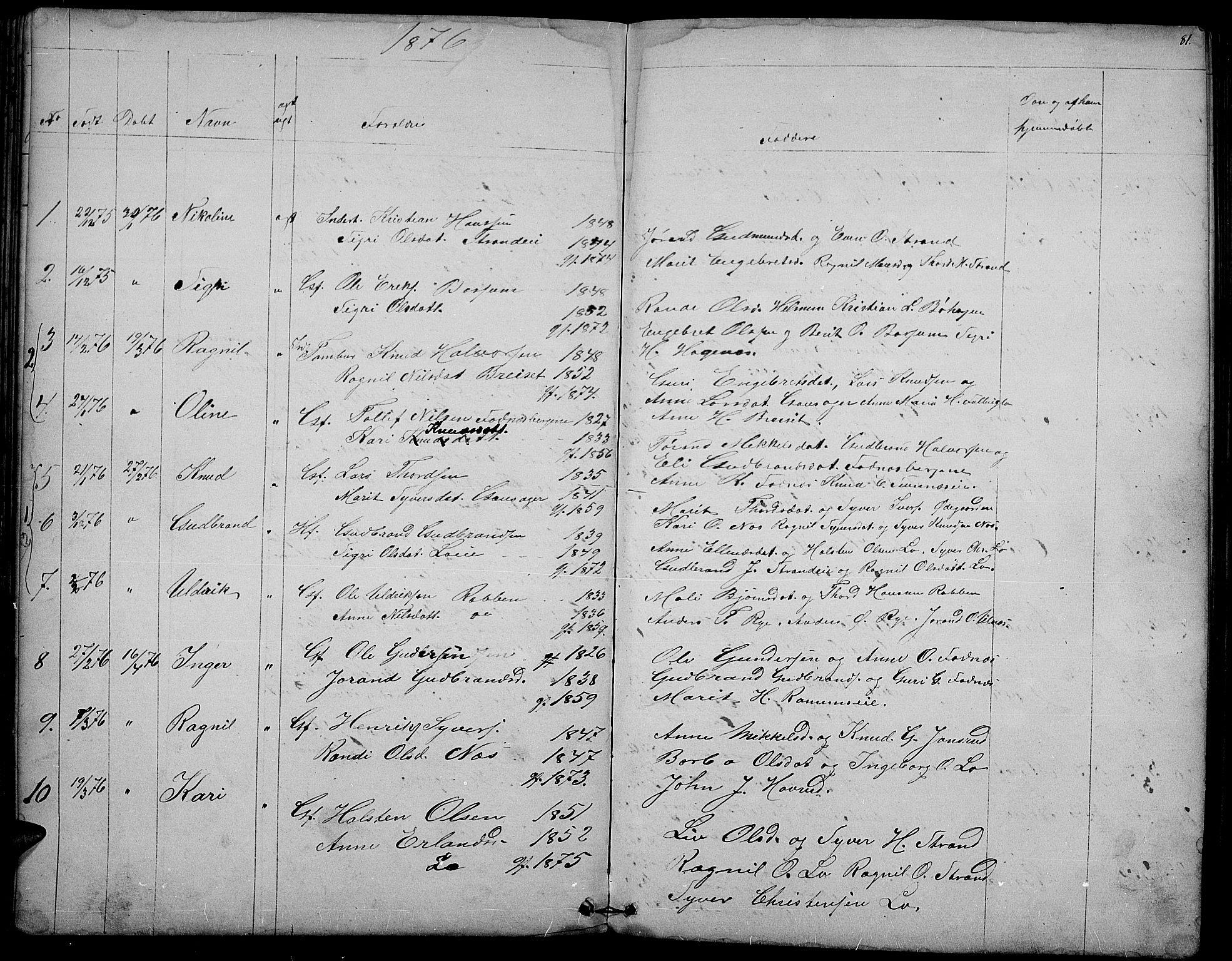 SAH, Nord-Aurdal prestekontor, Klokkerbok nr. 3, 1842-1882, s. 81
