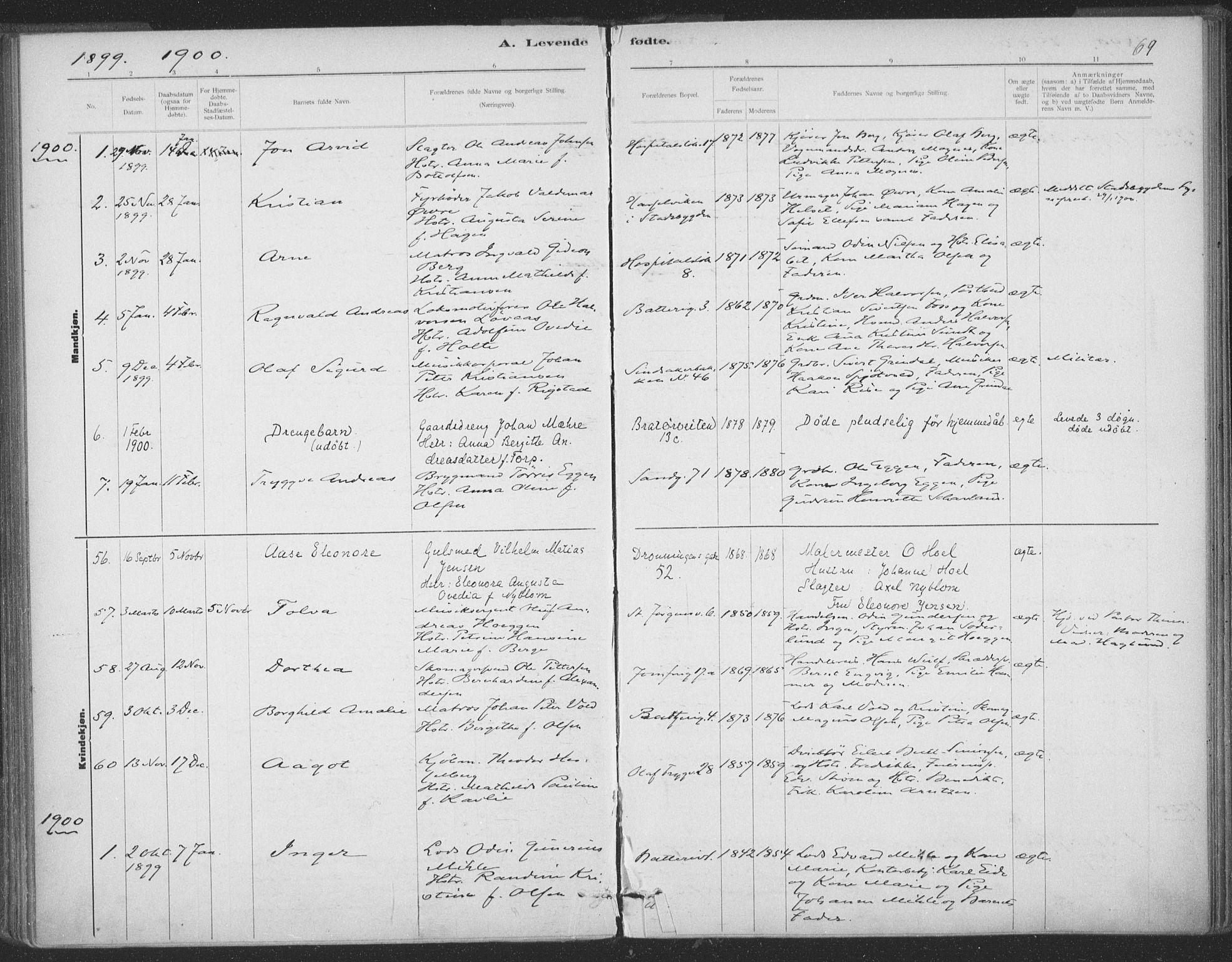 SAT, Ministerialprotokoller, klokkerbøker og fødselsregistre - Sør-Trøndelag, 602/L0122: Ministerialbok nr. 602A20, 1892-1908, s. 69