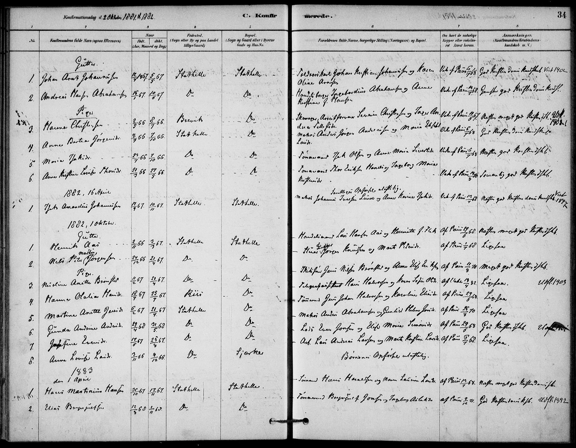 SAKO, Bamble kirkebøker, G/Gb/L0001: Klokkerbok nr. II 1, 1878-1900, s. 34