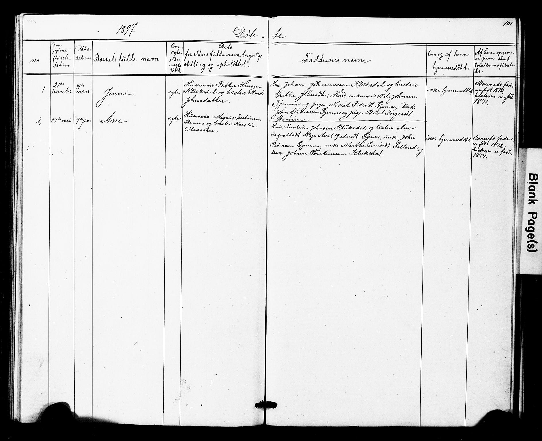 SAT, Ministerialprotokoller, klokkerbøker og fødselsregistre - Nord-Trøndelag, 707/L0052: Klokkerbok nr. 707C01, 1864-1897, s. 101