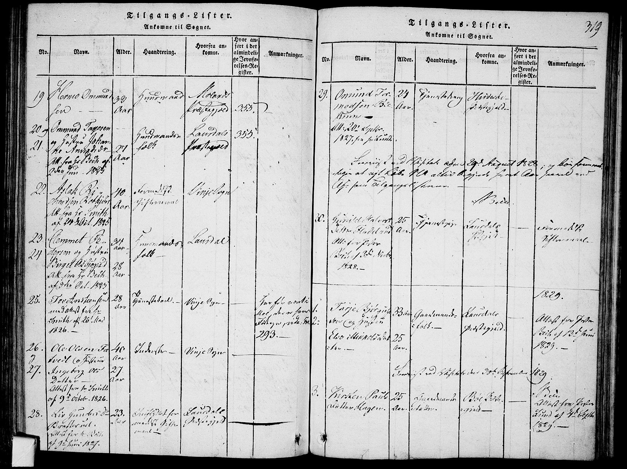 SAKO, Mo kirkebøker, F/Fa/L0004: Ministerialbok nr. I 4, 1814-1844, s. 319