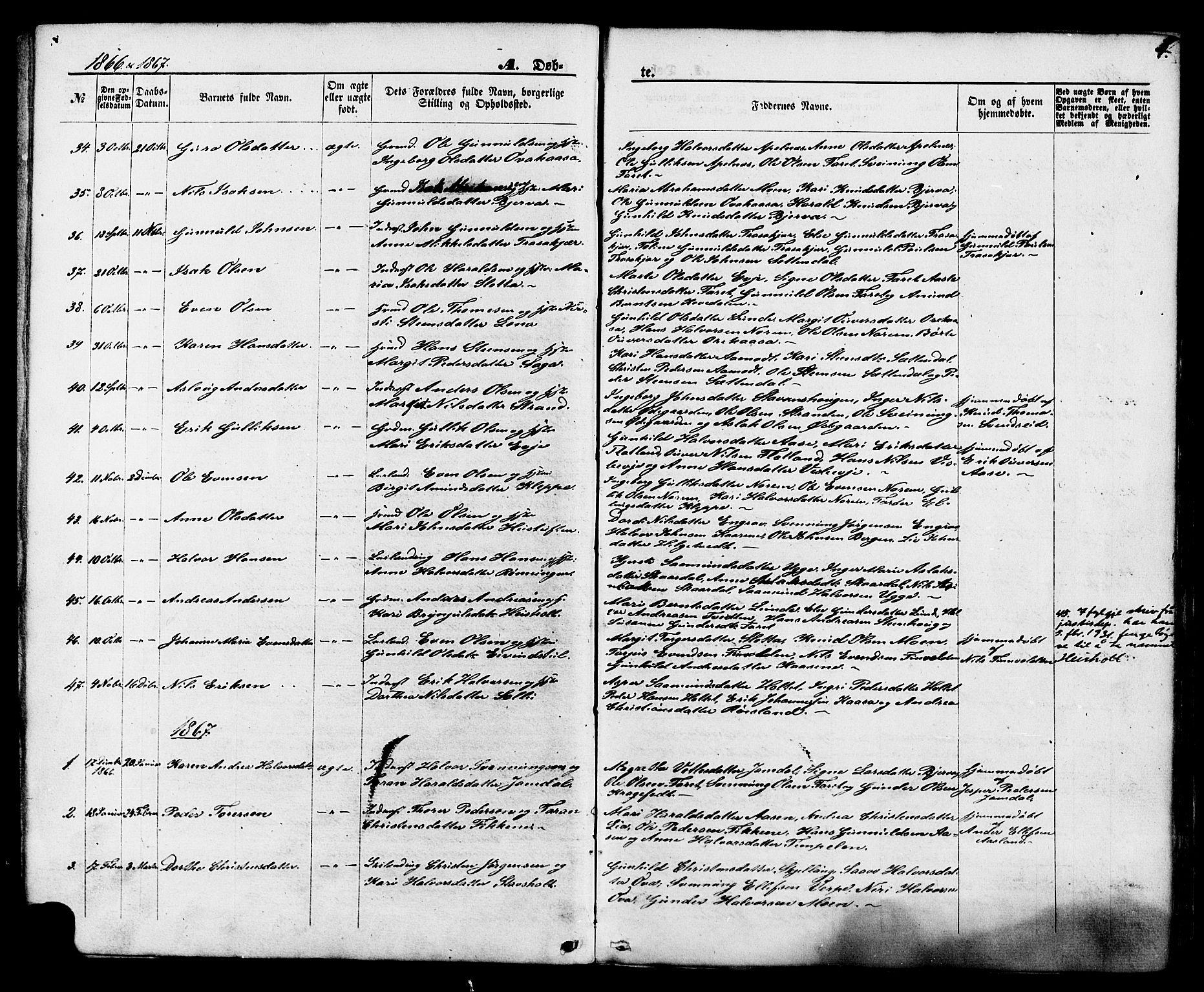 SAKO, Lunde kirkebøker, F/Fa/L0001: Ministerialbok nr. I 1, 1866-1883, s. 4
