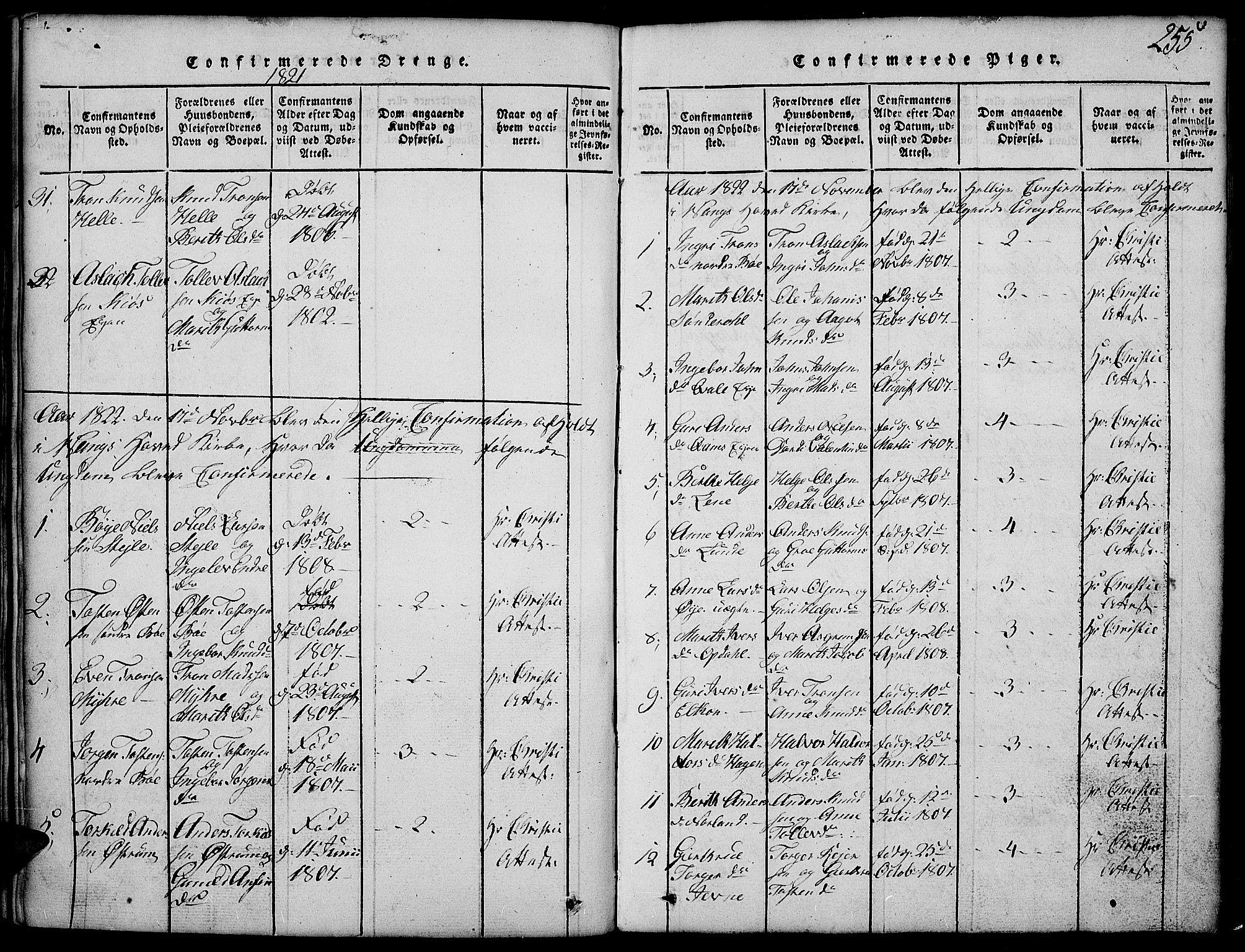 SAH, Vang prestekontor, Valdres, Klokkerbok nr. 2, 1814-1889, s. 255