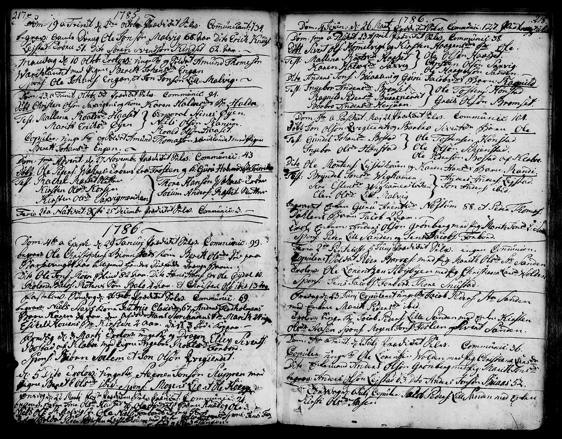 SAT, Ministerialprotokoller, klokkerbøker og fødselsregistre - Sør-Trøndelag, 606/L0281: Ministerialbok nr. 606A02 /2, 1781-1817, s. 217-218
