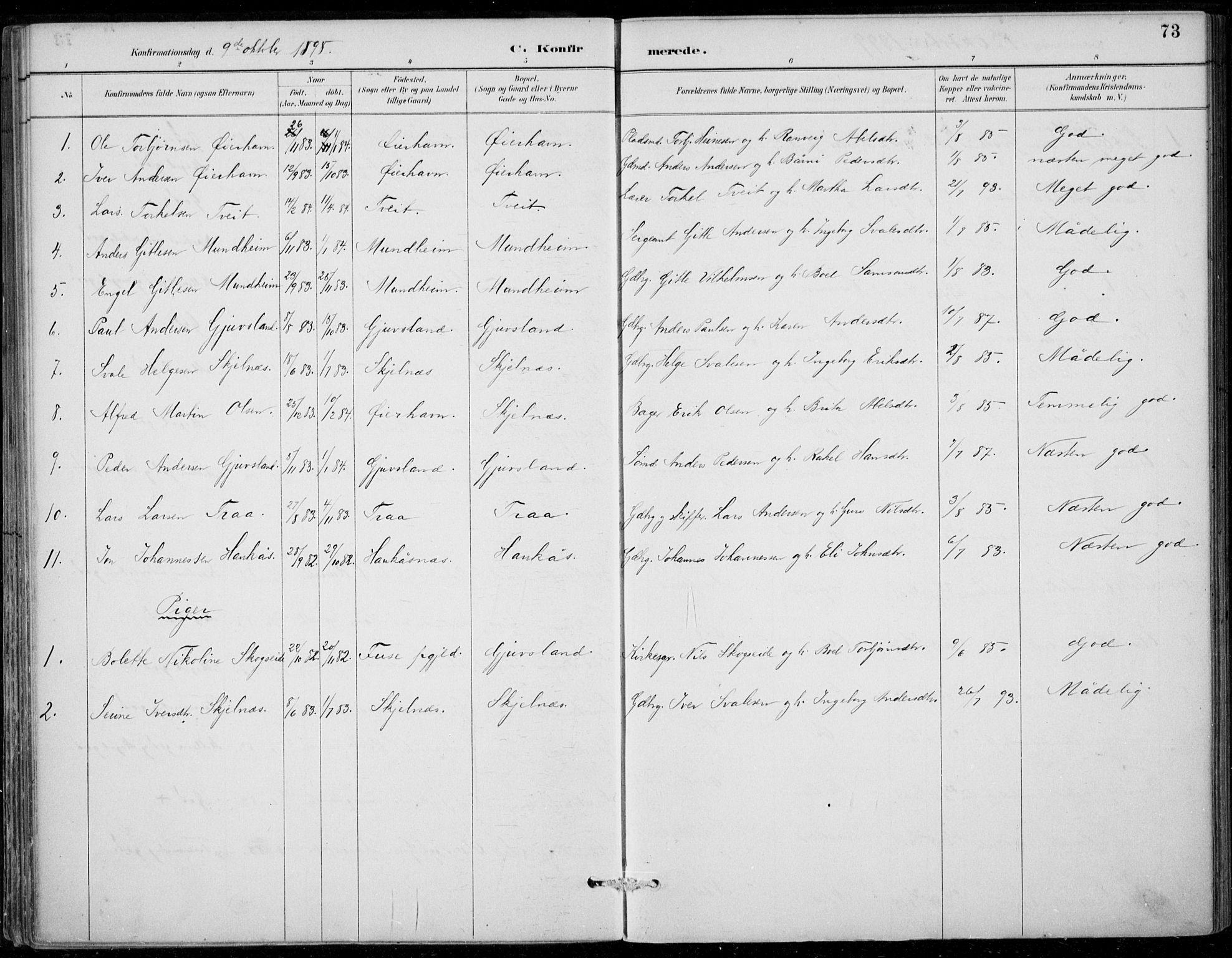 SAB, Strandebarm sokneprestembete, H/Haa: Ministerialbok nr. D  1, 1886-1912, s. 73