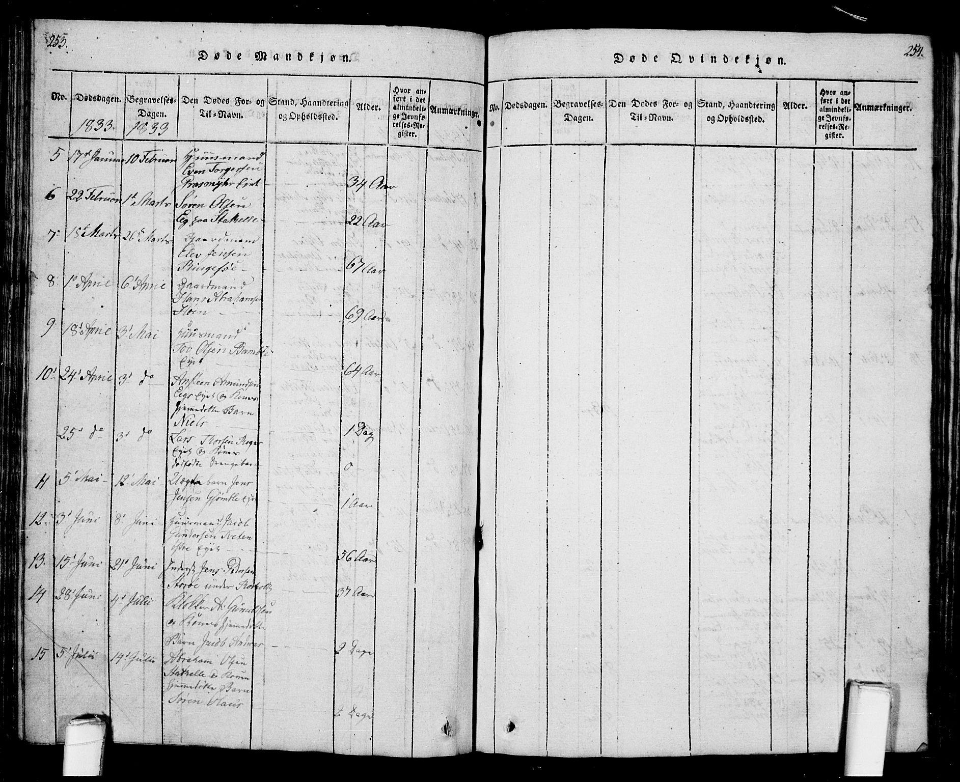 SAKO, Bamble kirkebøker, G/Ga/L0005: Klokkerbok nr. I 5, 1814-1855, s. 253-254