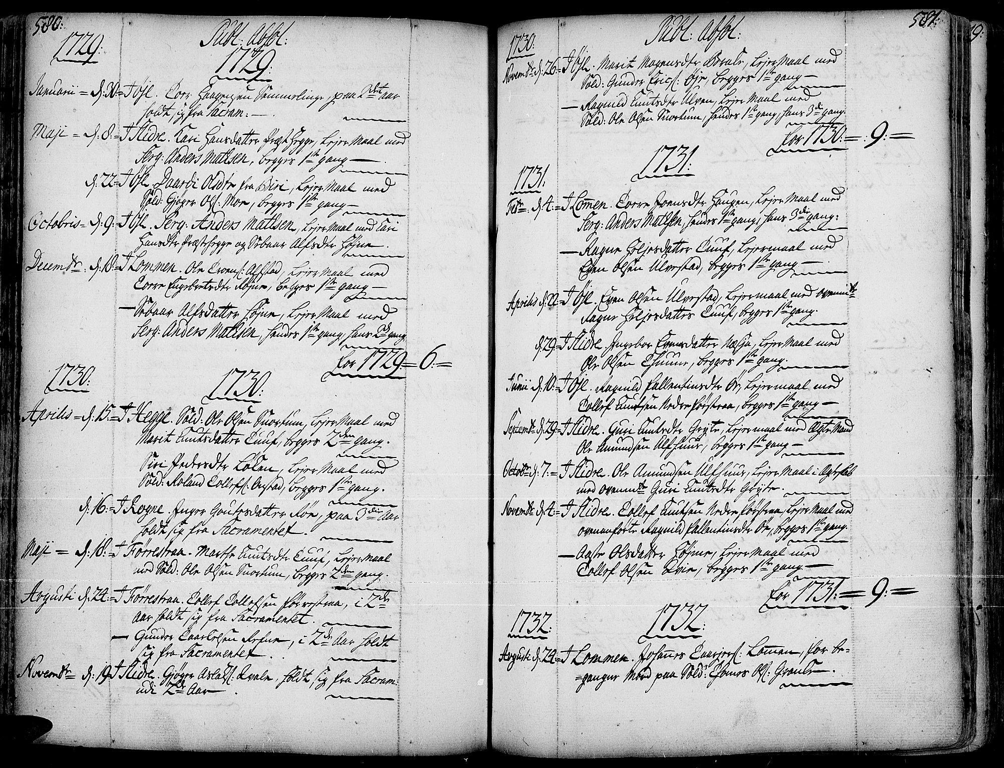SAH, Slidre prestekontor, Ministerialbok nr. 1, 1724-1814, s. 580-581