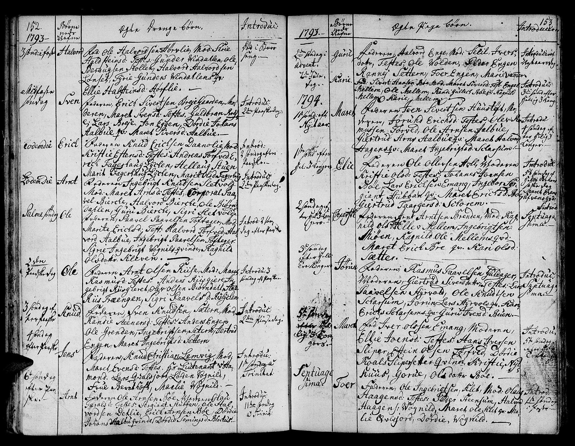 SAT, Ministerialprotokoller, klokkerbøker og fødselsregistre - Sør-Trøndelag, 678/L0893: Ministerialbok nr. 678A03, 1792-1805, s. 152-153