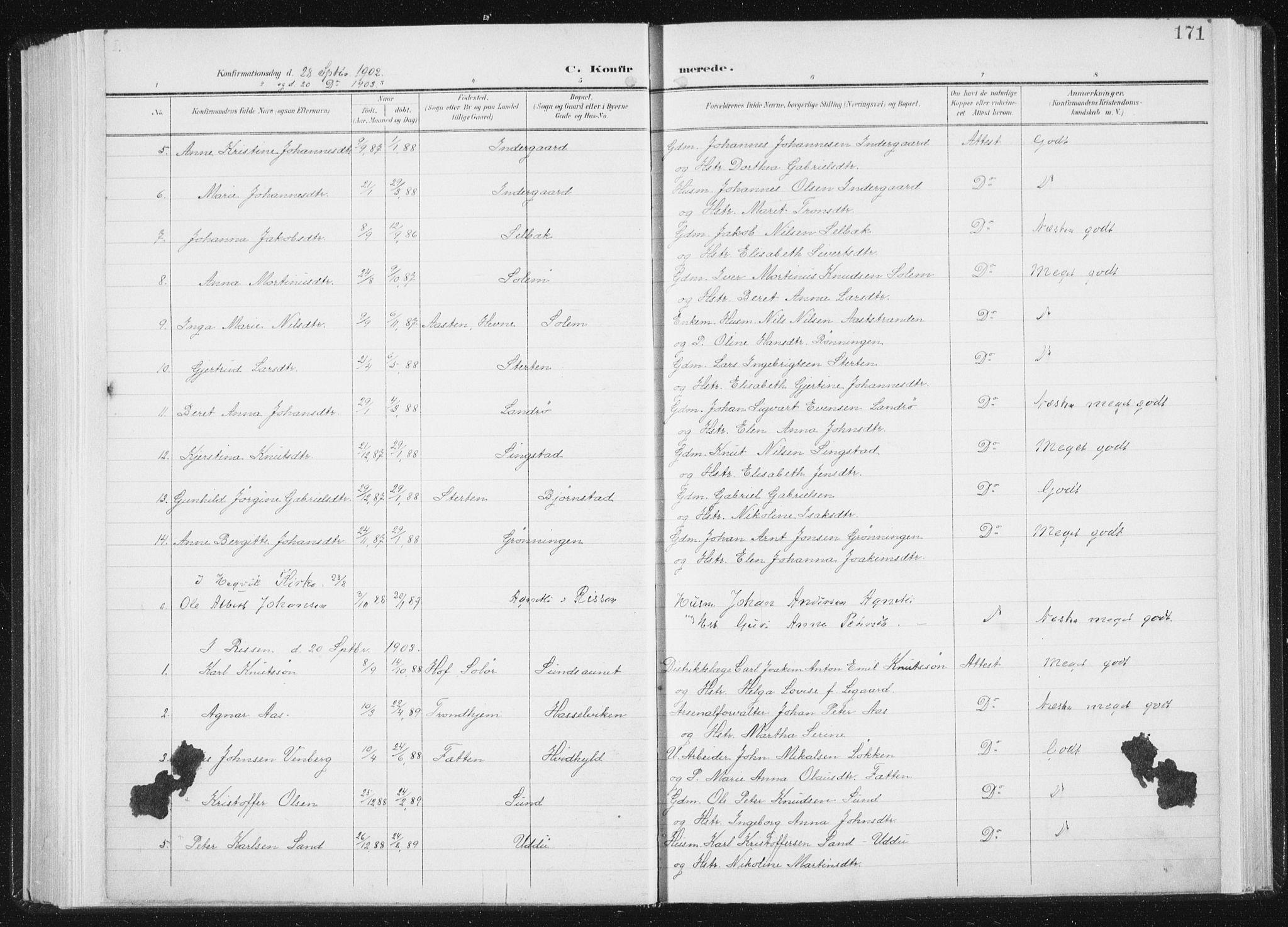 SAT, Ministerialprotokoller, klokkerbøker og fødselsregistre - Sør-Trøndelag, 647/L0635: Ministerialbok nr. 647A02, 1896-1911, s. 171
