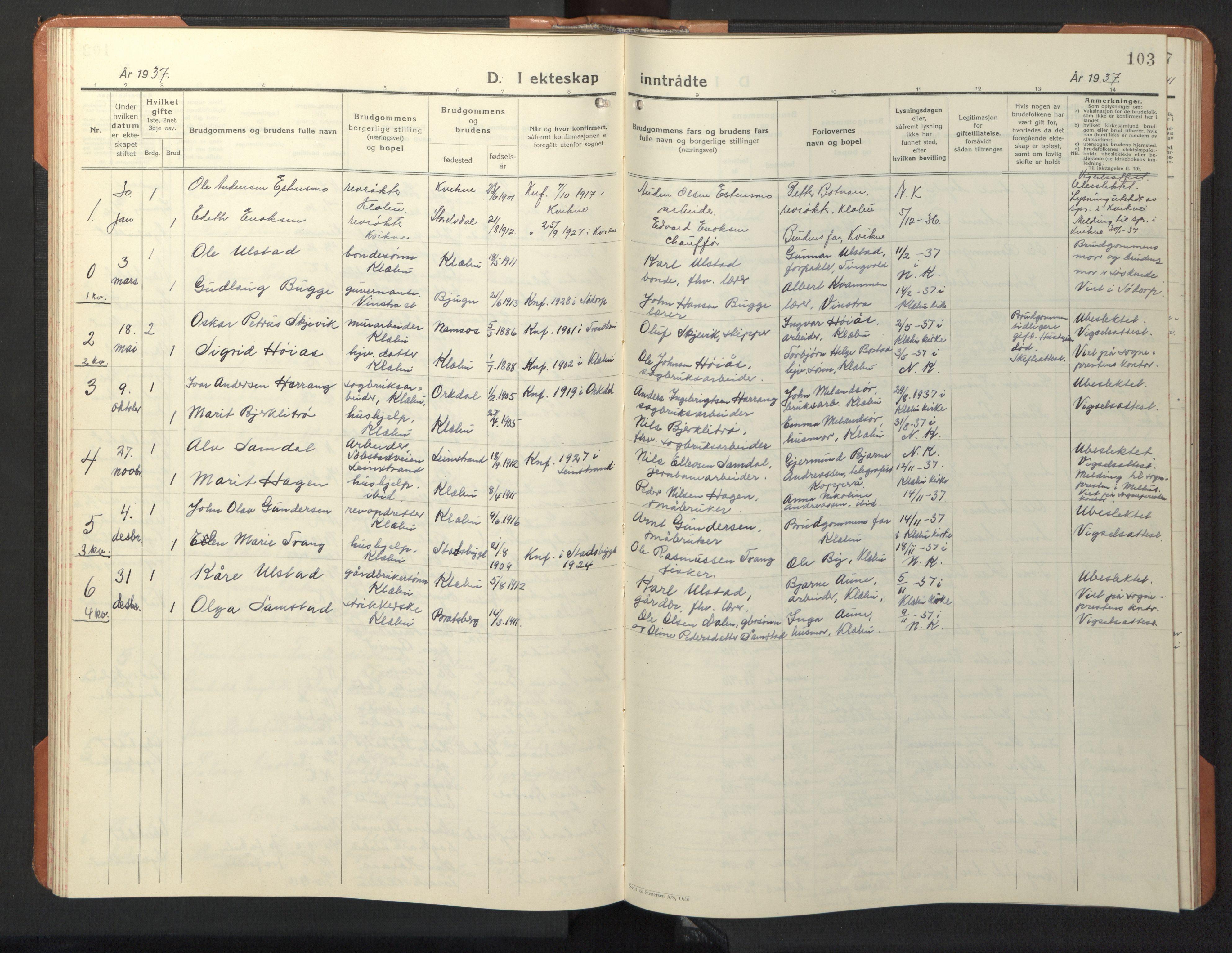 SAT, Ministerialprotokoller, klokkerbøker og fødselsregistre - Sør-Trøndelag, 618/L0454: Klokkerbok nr. 618C05, 1926-1946, s. 103