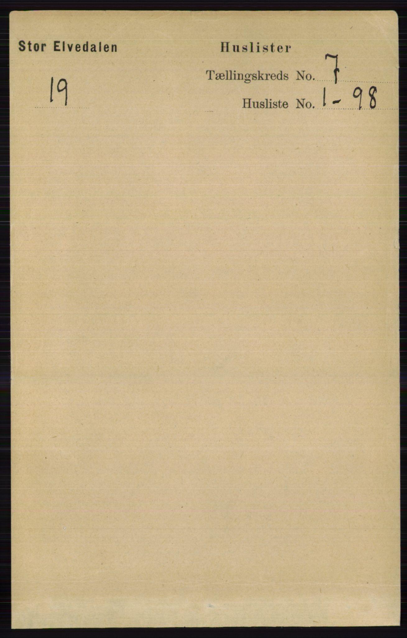 RA, Folketelling 1891 for 0430 Stor-Elvdal herred, 1891, s. 2547