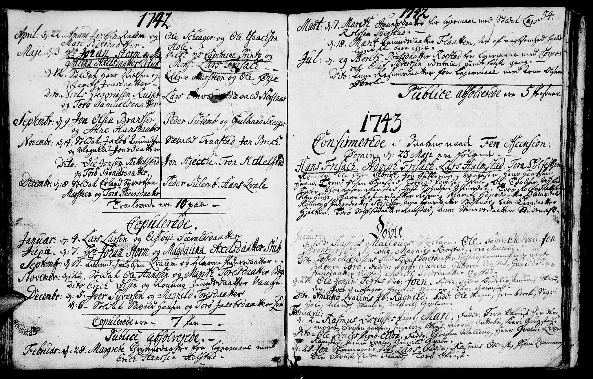 SAH, Lom prestekontor, K/L0001: Ministerialbok nr. 1, 1733-1748, s. 54