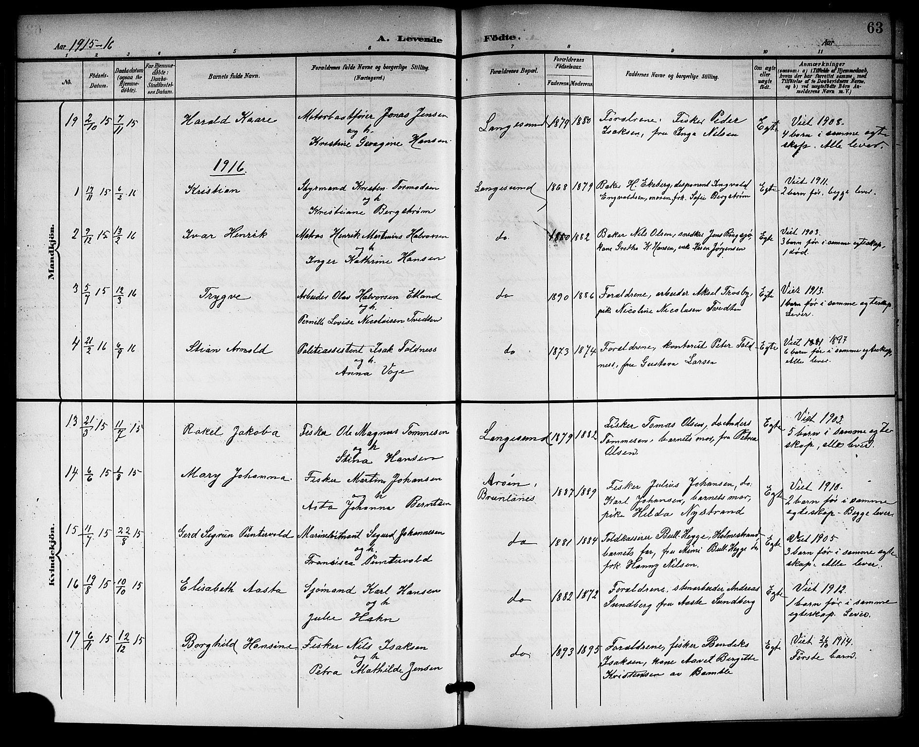 SAKO, Langesund kirkebøker, G/Ga/L0006: Klokkerbok nr. 6, 1899-1918, s. 63