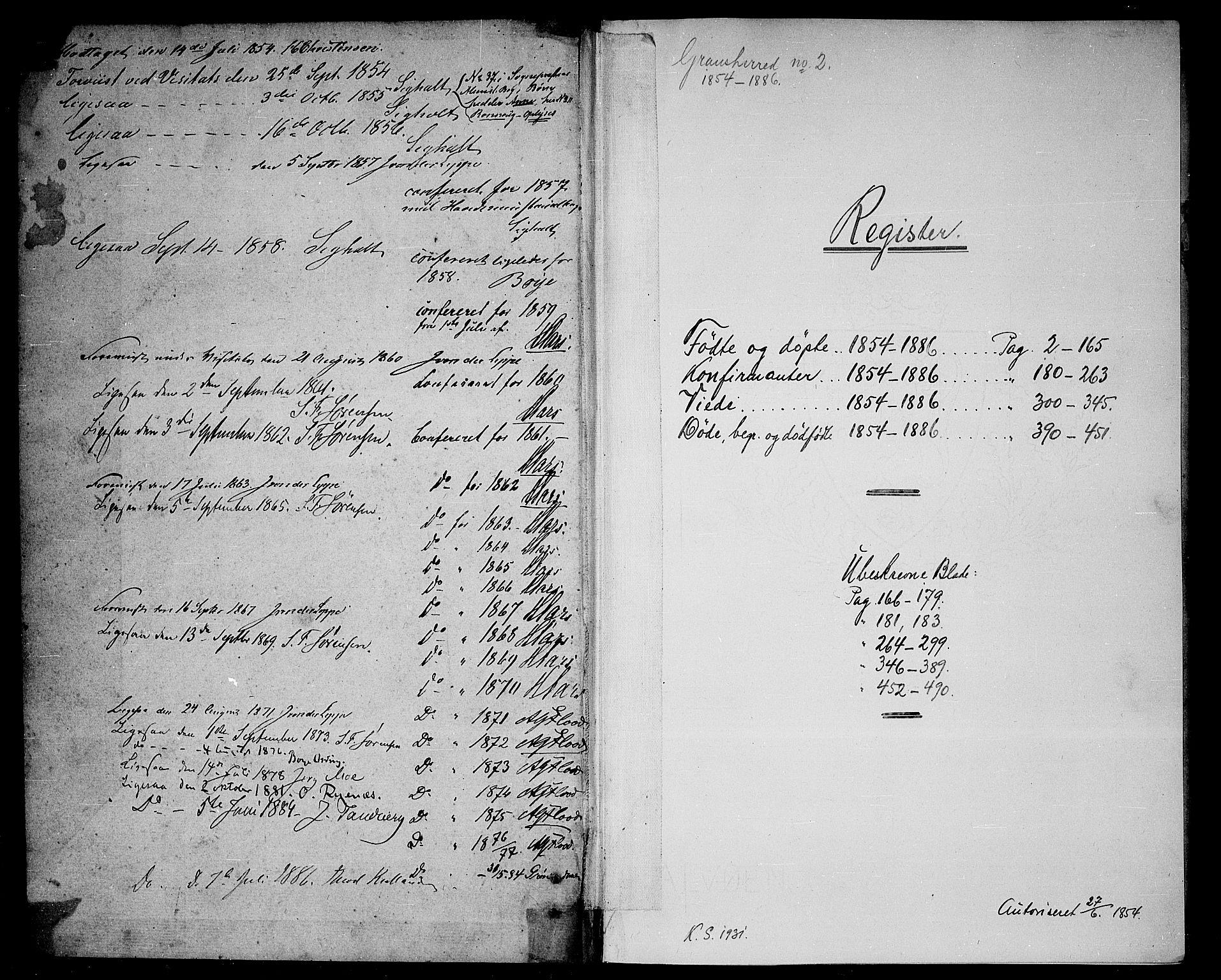 SAKO, Gransherad kirkebøker, G/Ga/L0002: Klokkerbok nr. I 2, 1854-1886