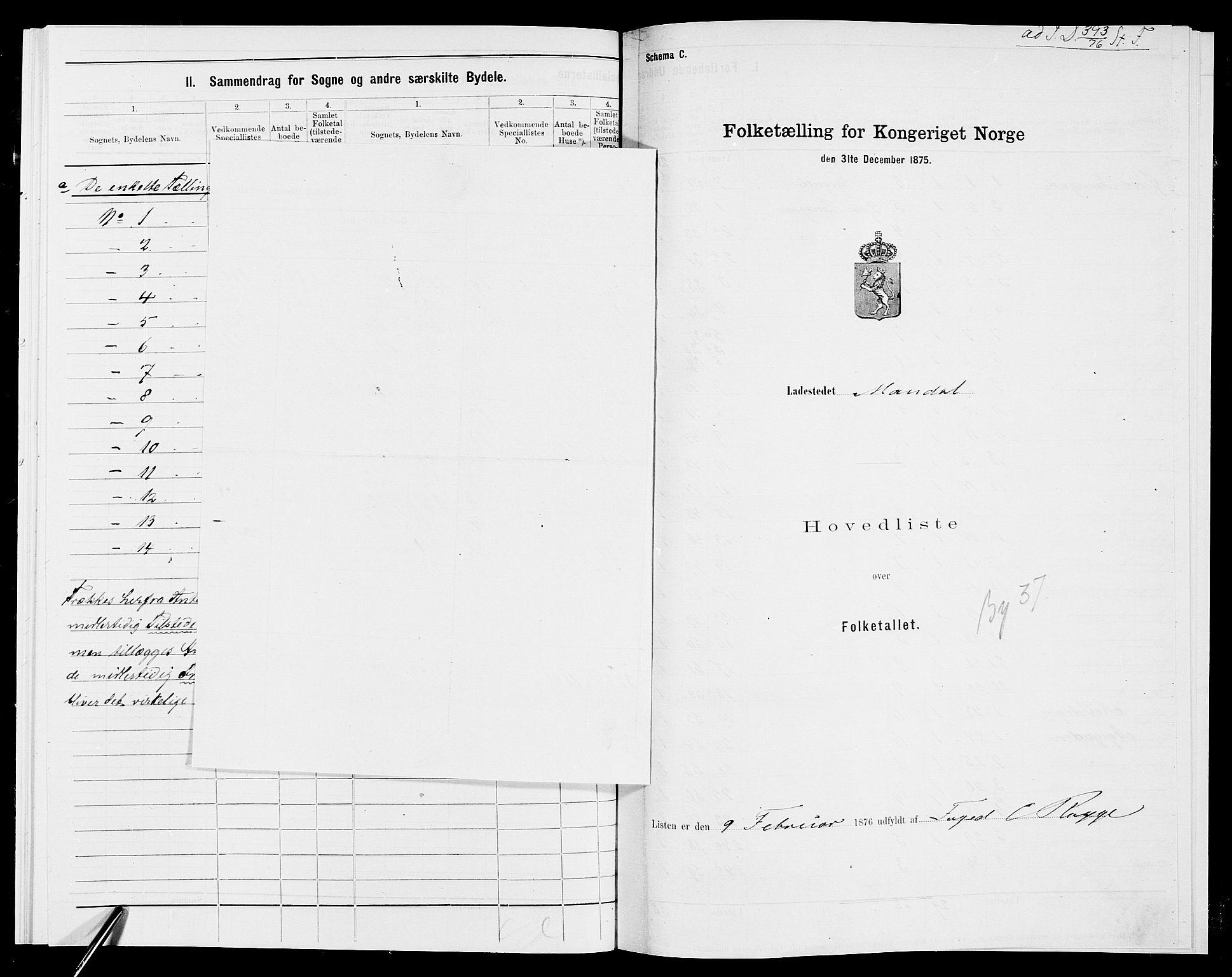 SAK, Folketelling 1875 for 1002B Mandal prestegjeld, Mandal ladested, 1875, s. 1