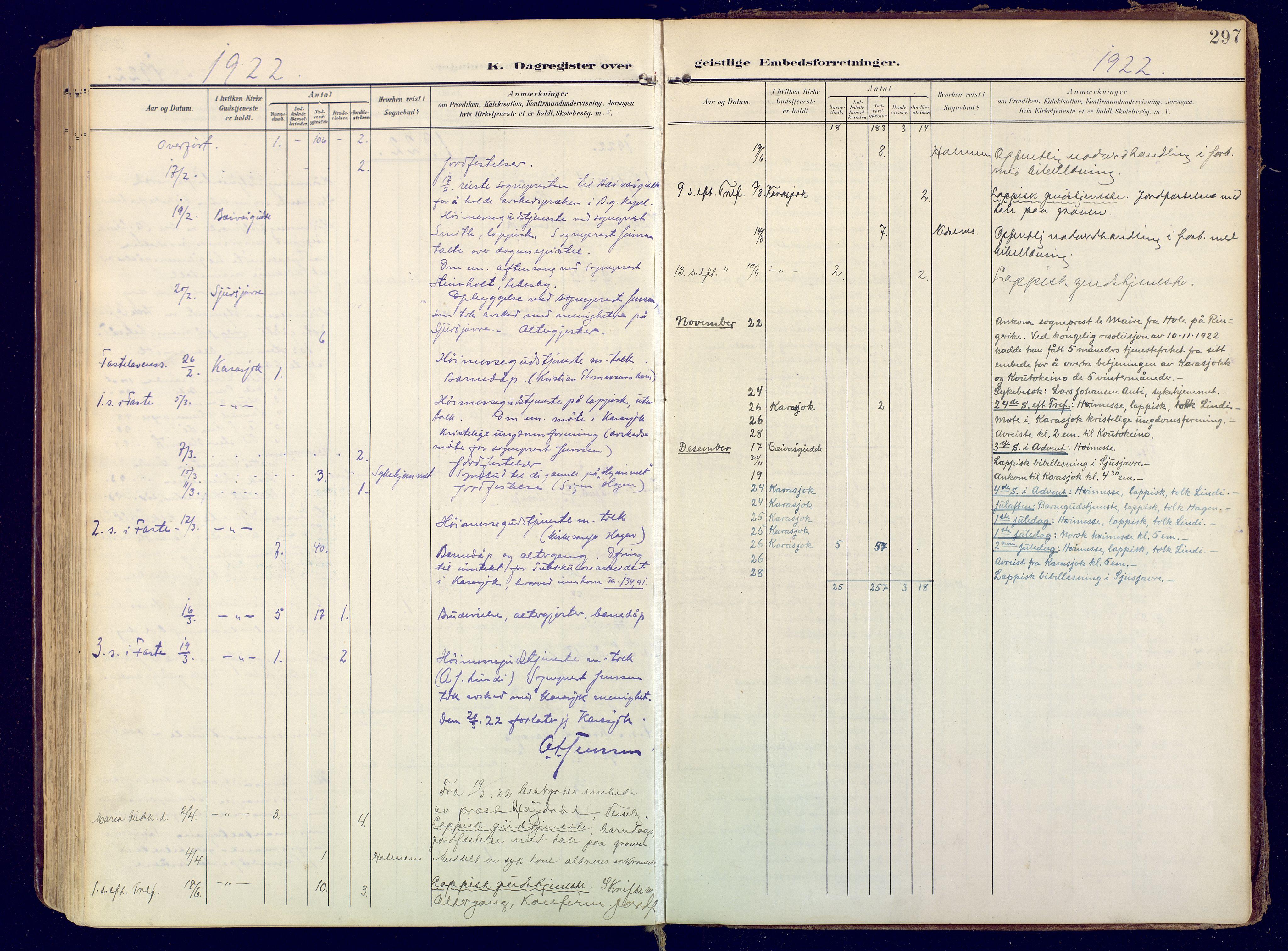 SATØ, Karasjok sokneprestkontor, H/Ha: Ministerialbok nr. 3, 1907-1926, s. 297