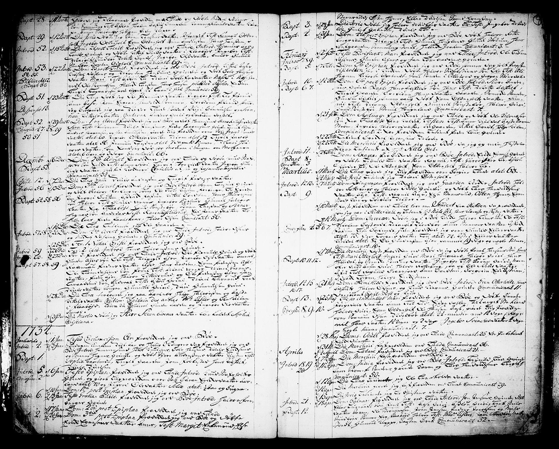 SAKO, Bø kirkebøker, F/Fa/L0003: Ministerialbok nr. 3, 1733-1748, s. 4