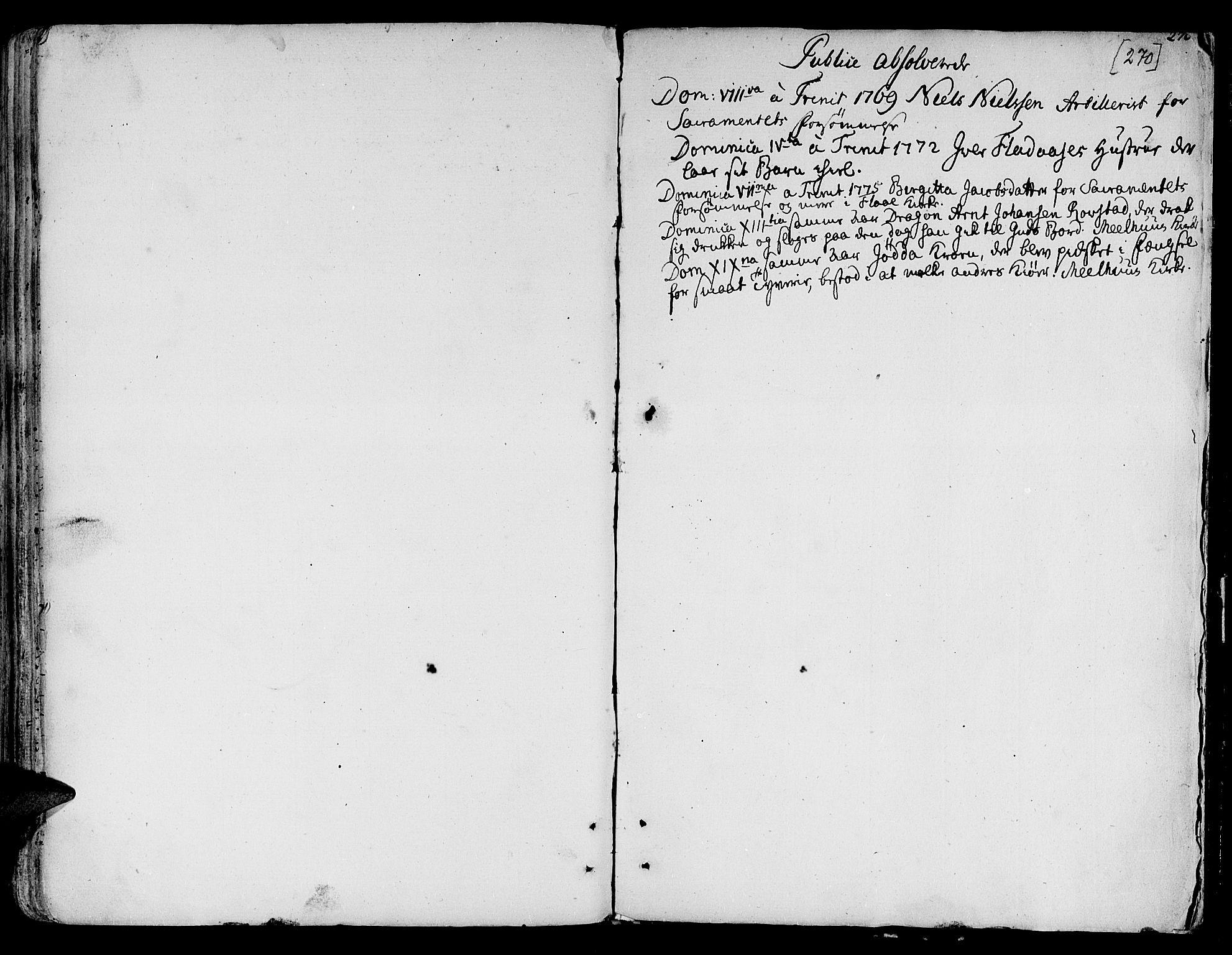 SAT, Ministerialprotokoller, klokkerbøker og fødselsregistre - Sør-Trøndelag, 691/L1061: Ministerialbok nr. 691A02 /1, 1768-1815, s. 270