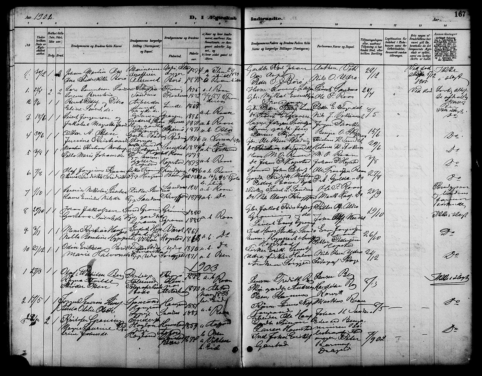 SAT, Ministerialprotokoller, klokkerbøker og fødselsregistre - Sør-Trøndelag, 657/L0716: Klokkerbok nr. 657C03, 1889-1904, s. 167