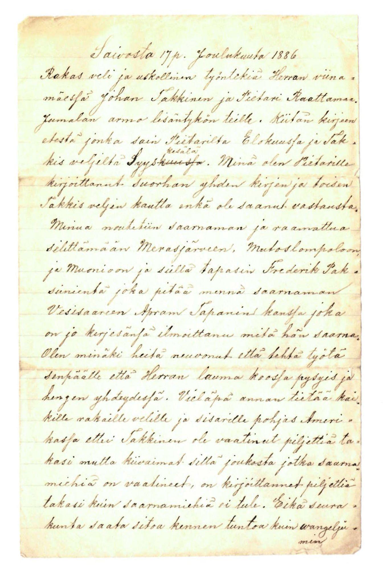 FMFB, Elise Balos brevsamling, F/Fa/L0004: Brev fra J.Raattamaa til J.Takkinen og P.Raattamaa , 1886