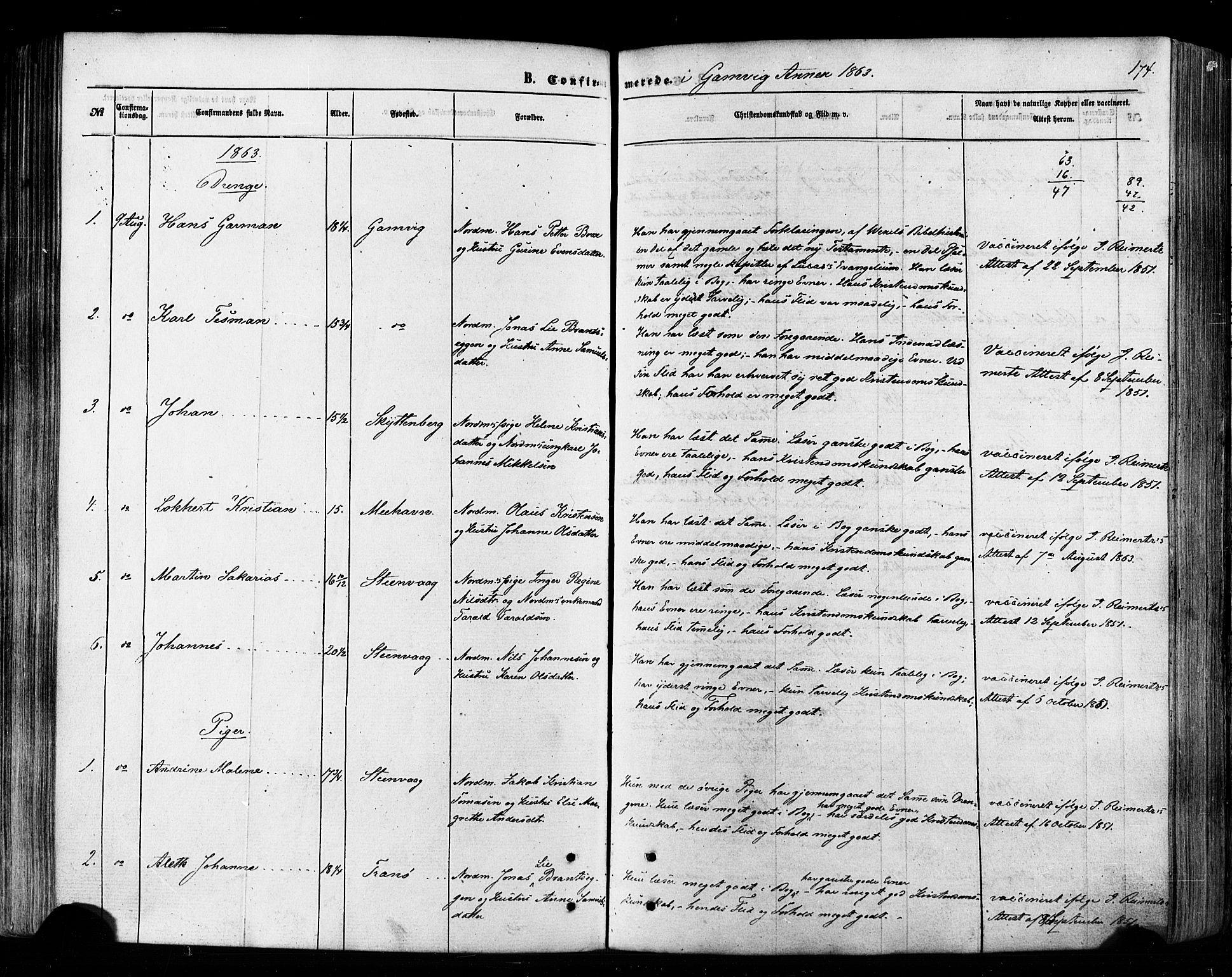 SATØ, Tana sokneprestkontor, H/Ha/L0002kirke: Ministerialbok nr. 2 /2, 1862-1877, s. 174