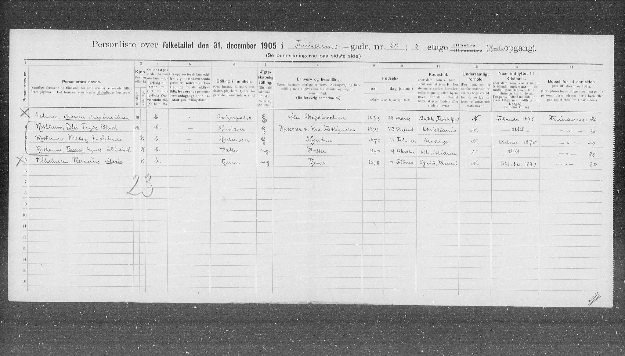 OBA, Kommunal folketelling 1905 for Kristiania kjøpstad, 1905, s. 13913